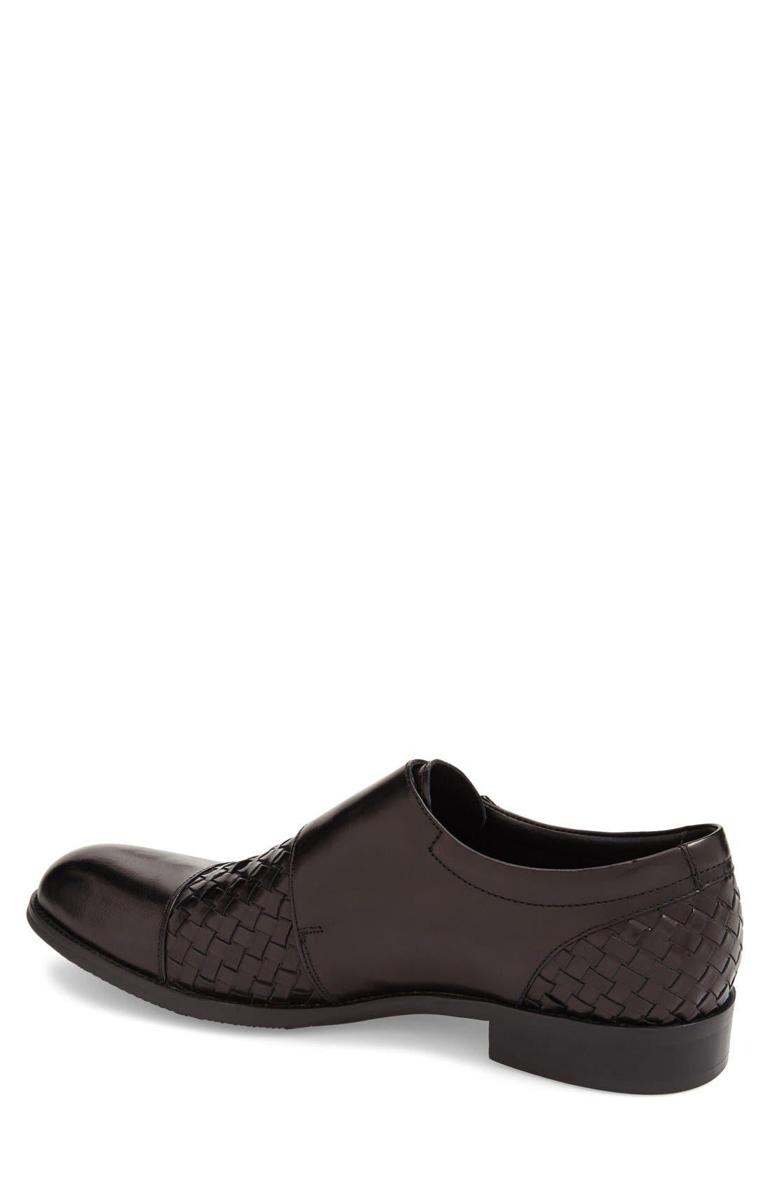 'Mahler' Monk Strap Shoe,                             Alternate thumbnail 2, color,                             Black Leather