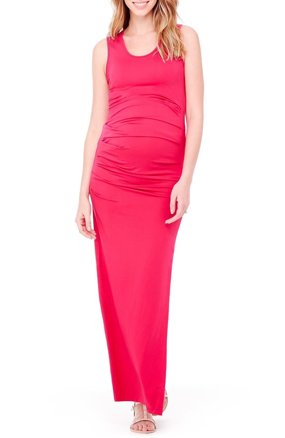 Alternate Image 1 Selected - Ingrid & Isabel® Striped Tank Maternity Maxi Dress