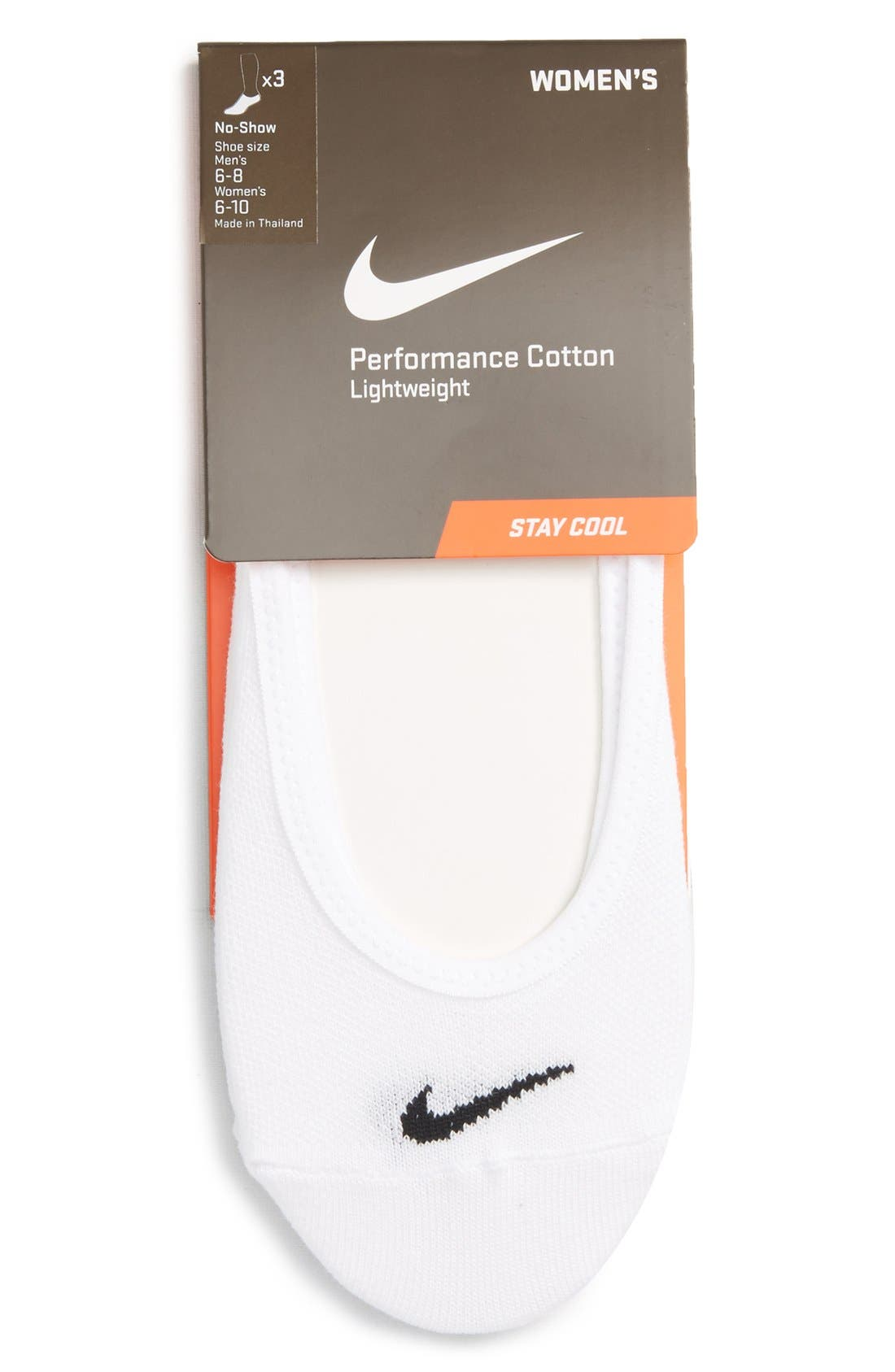 3-Pack No-Show Socks,                         Main,                         color, White/ Black