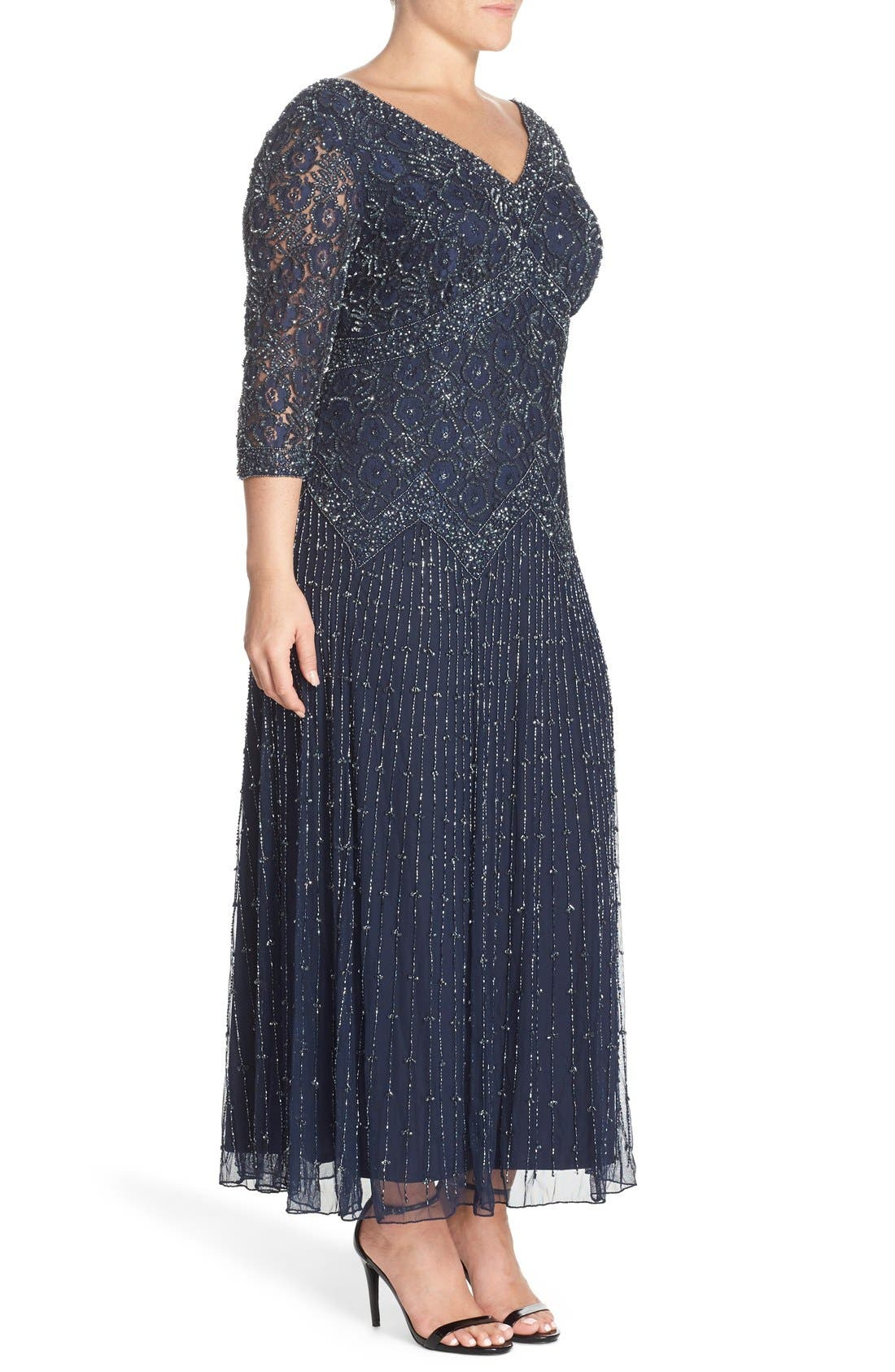 Beaded V-Neck Lace Illusion Gown,                             Alternate thumbnail 3, color,                             Navy