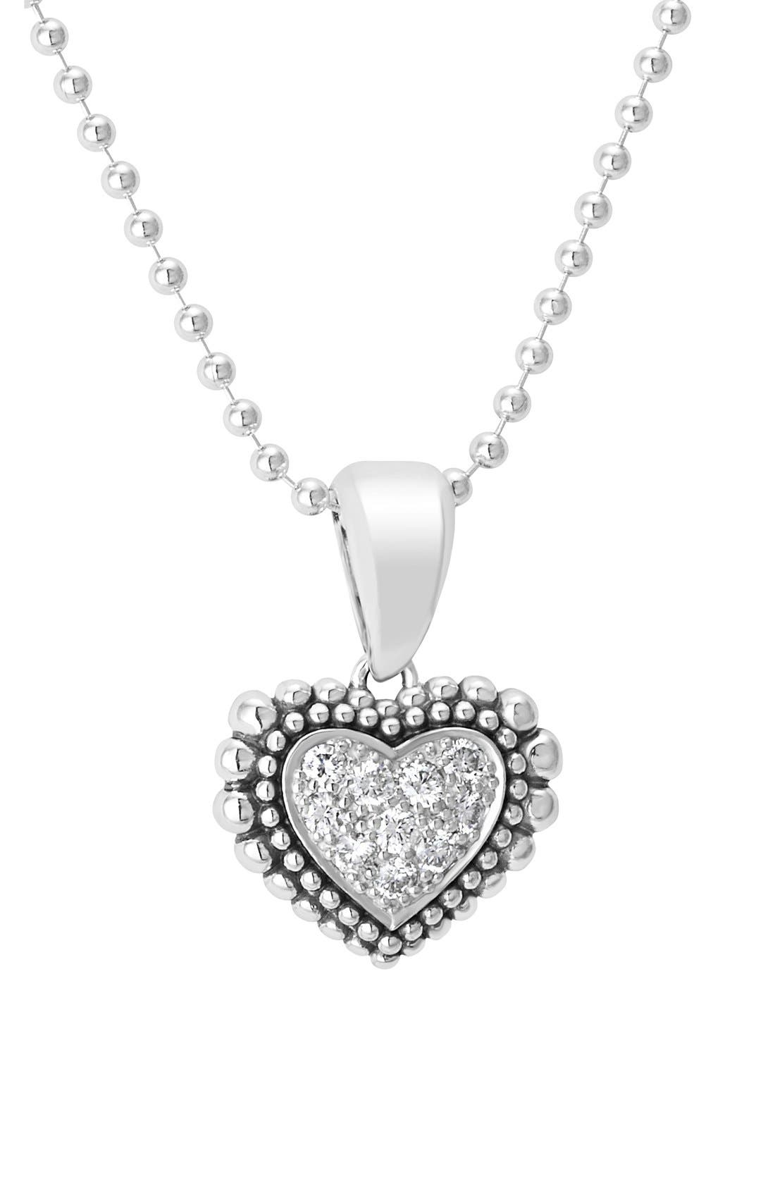 Diamond Heart Pendant Necklace,                             Alternate thumbnail 3, color,                             Silver