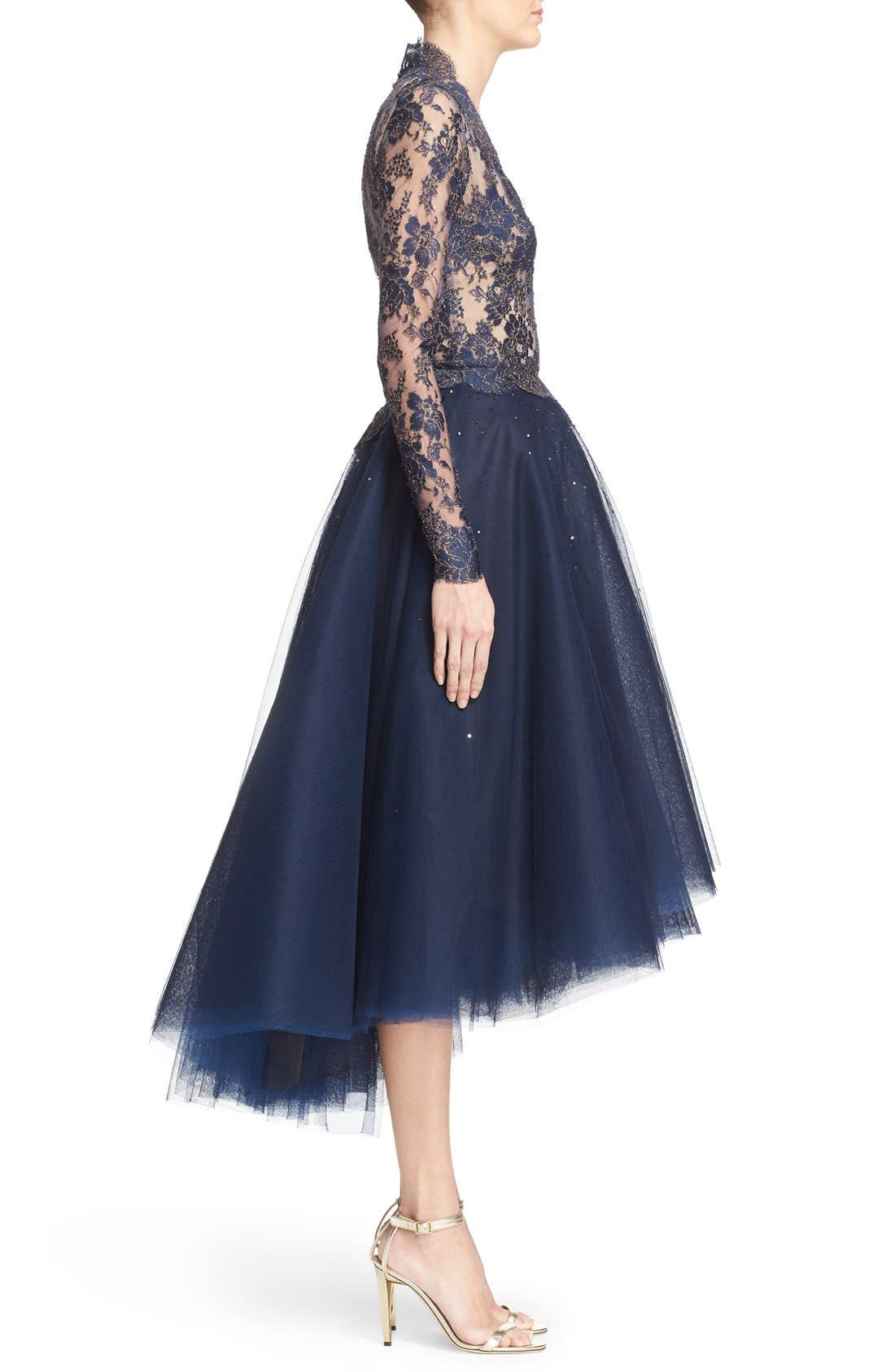 Chantilly Lace & Embellished Tulle High/Low Dress,                             Alternate thumbnail 4, color,                             Navy