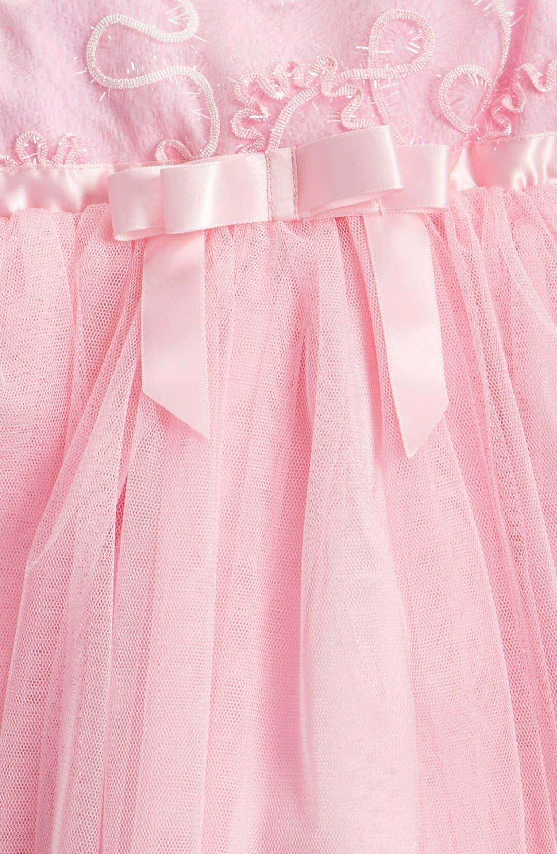 Sequin Flower Tulle Dress,                             Alternate thumbnail 3, color,                             Pink