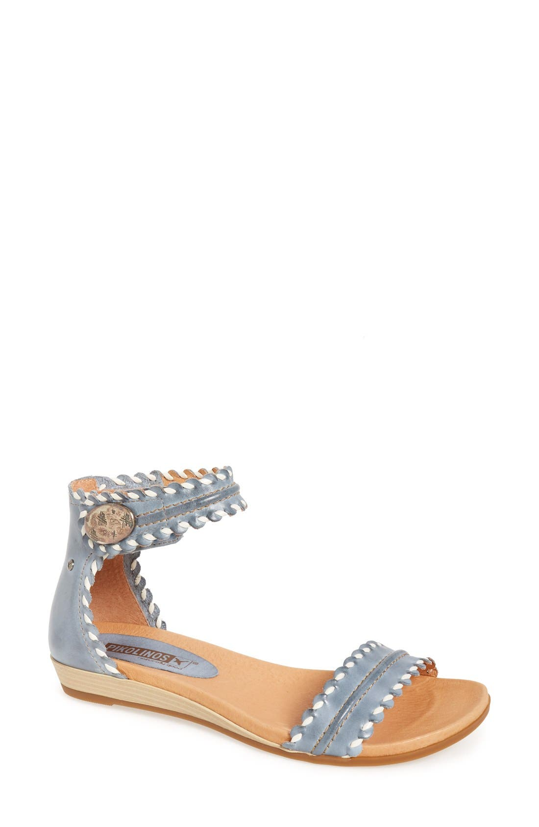 'Alcudia' Ankle Strap Sandal,                             Main thumbnail 1, color,                             Denim Leather