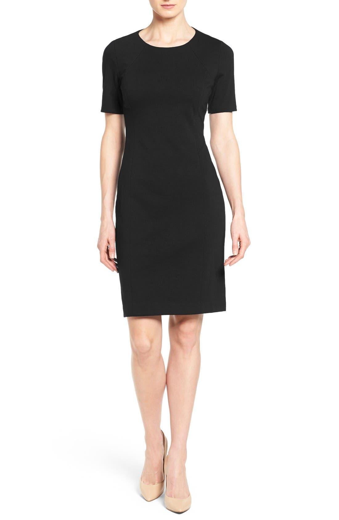 'Judianne' Short Sleeve Sheath Dress,                             Main thumbnail 1, color,                             Black