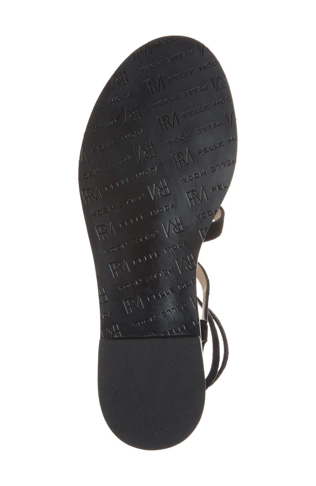 'Helen' Flat Gladiator Sandal,                             Alternate thumbnail 4, color,                             Black Leather