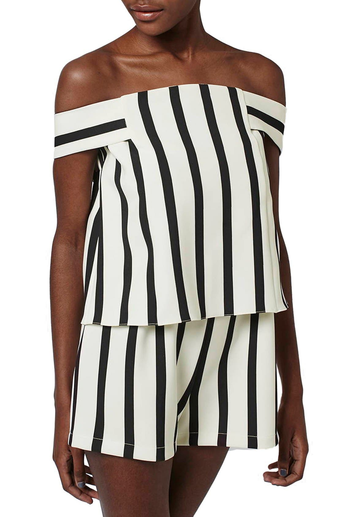 Alternate Image 3  - Topshop Stripe Off the Shoulder Romper (Regular & Petite)