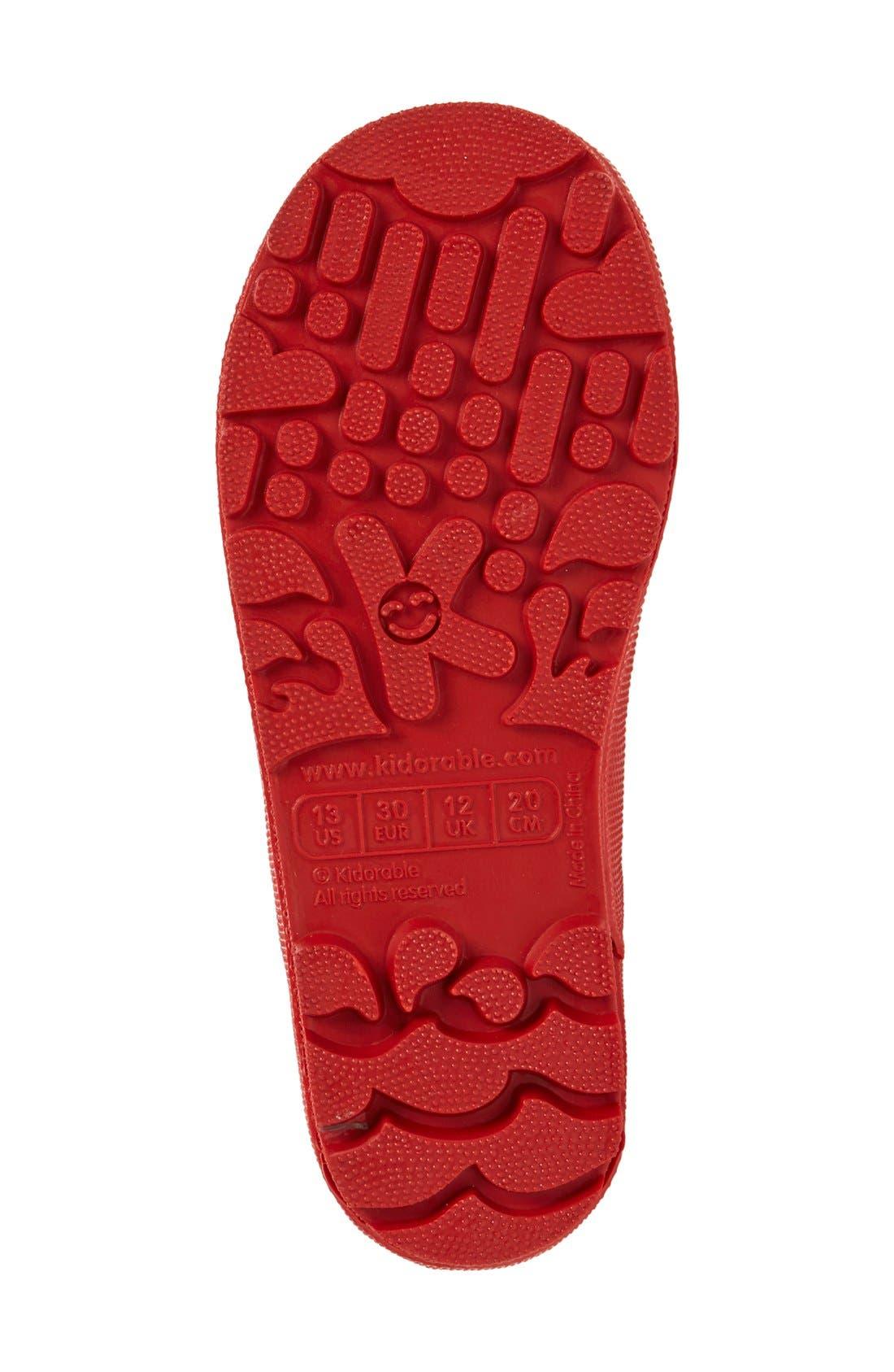 'Ladybug' Waterproof Rain Boot,                             Alternate thumbnail 4, color,                             Red