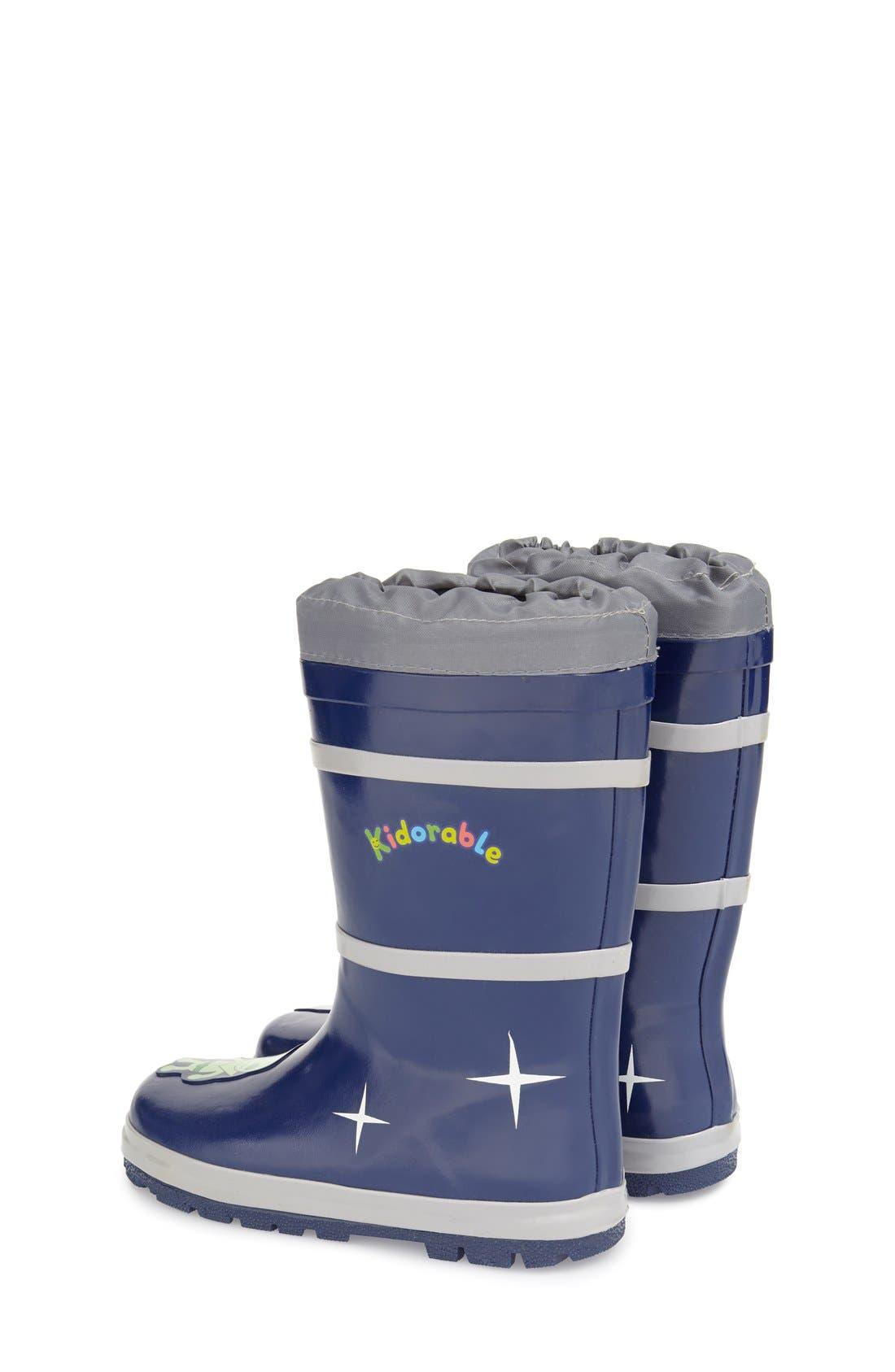'Space Hero' Waterproof Rain Boot,                             Alternate thumbnail 2, color,                             Blue