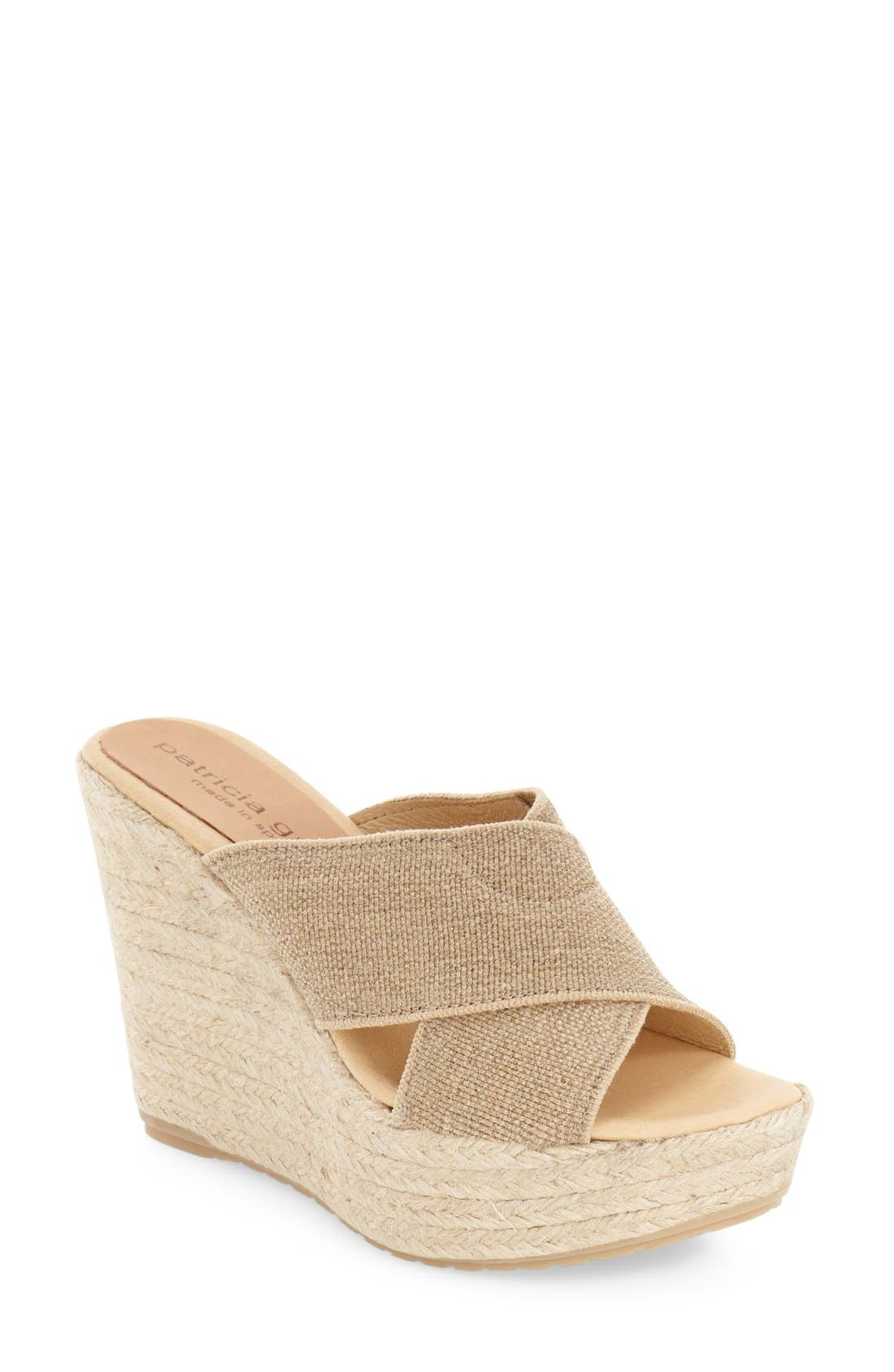 'Nora' Espadrille Wedge,                         Main,                         color, Natural