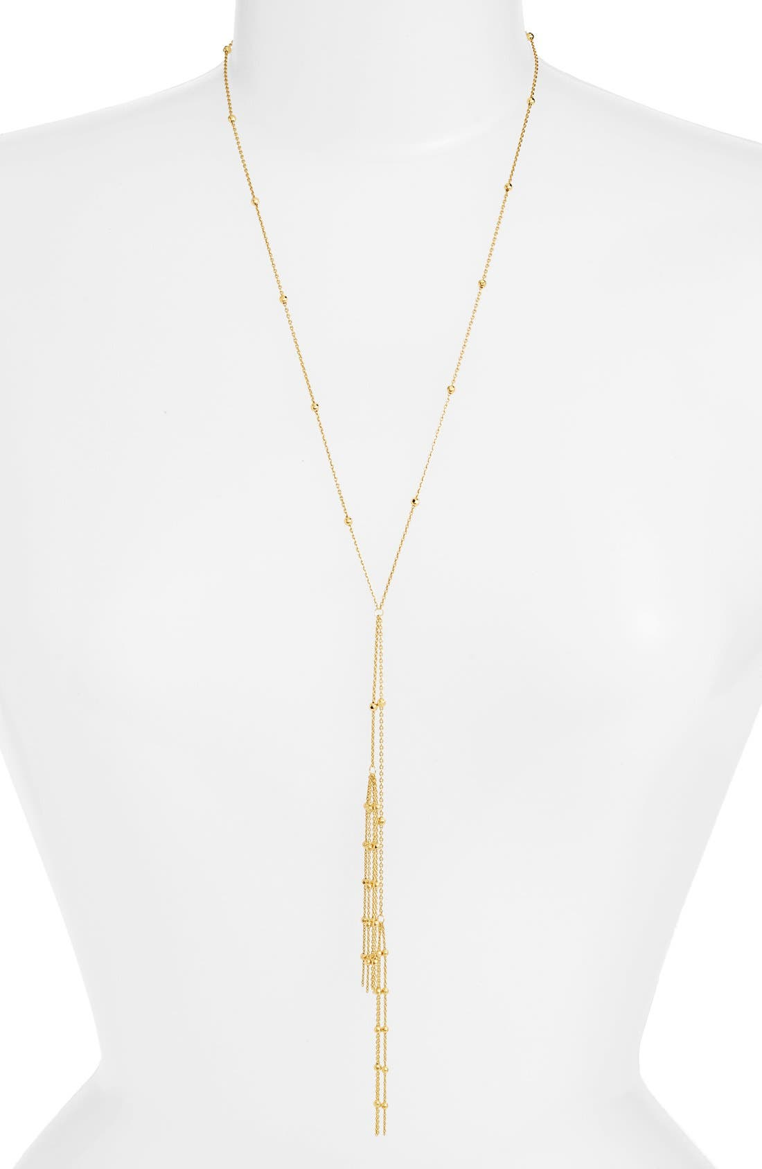 Tassel Y-Necklace,                         Main,                         color, Gold