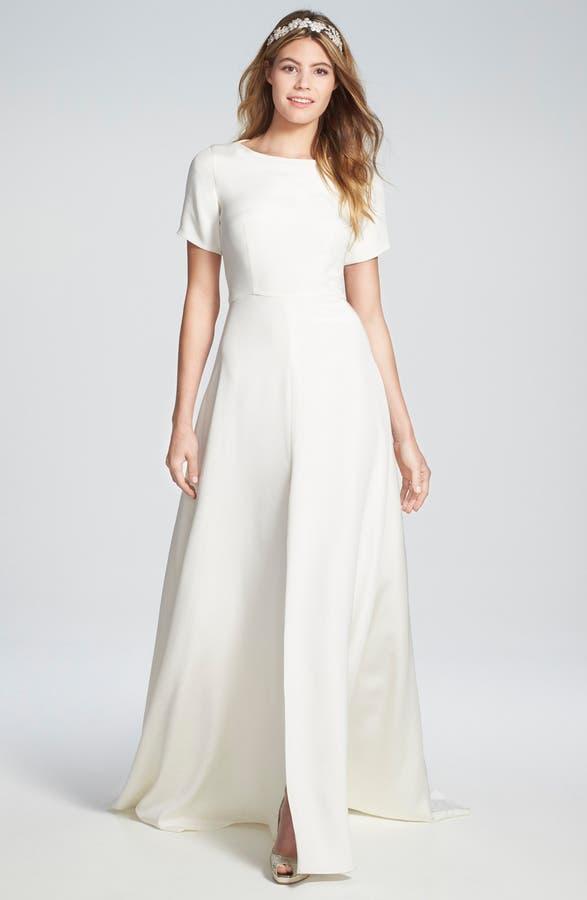 Sarah Seven \'Sullivan\' Back Cutout Short Sleeve Silk Crepe Gown ...