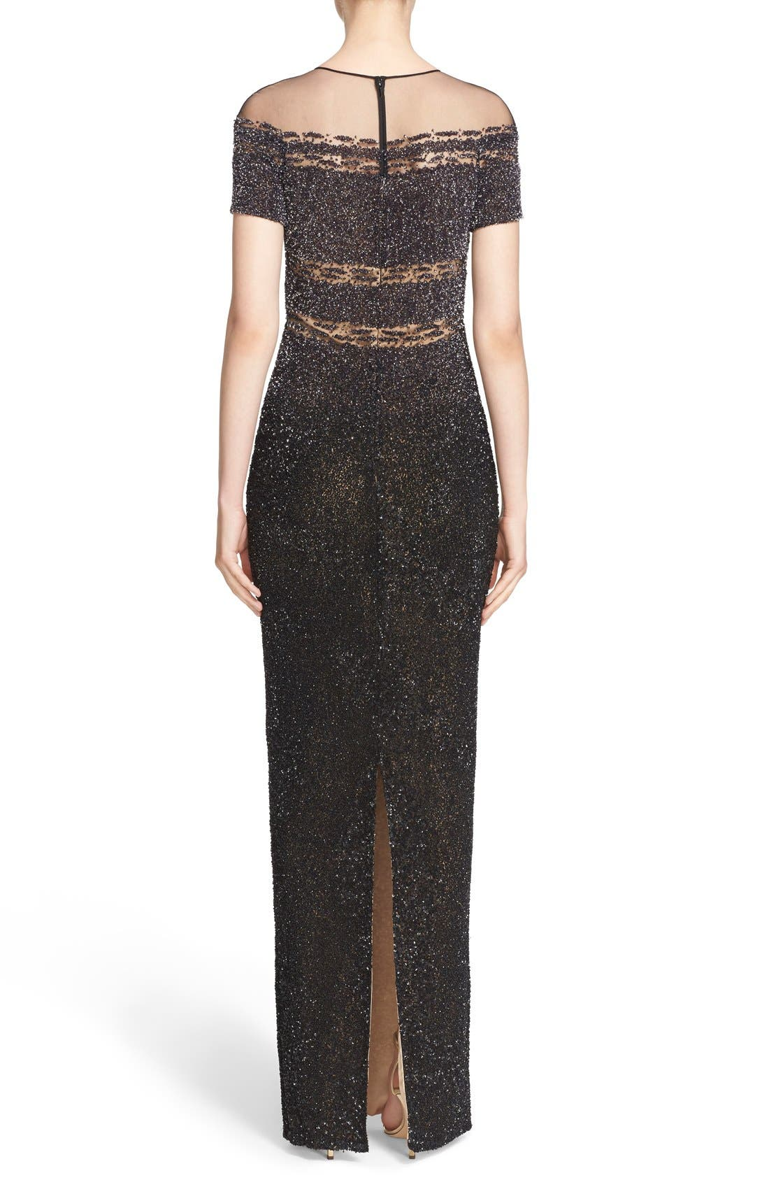Alternate Image 2  - Pamella Roland Illusion & Sequin Column Gown
