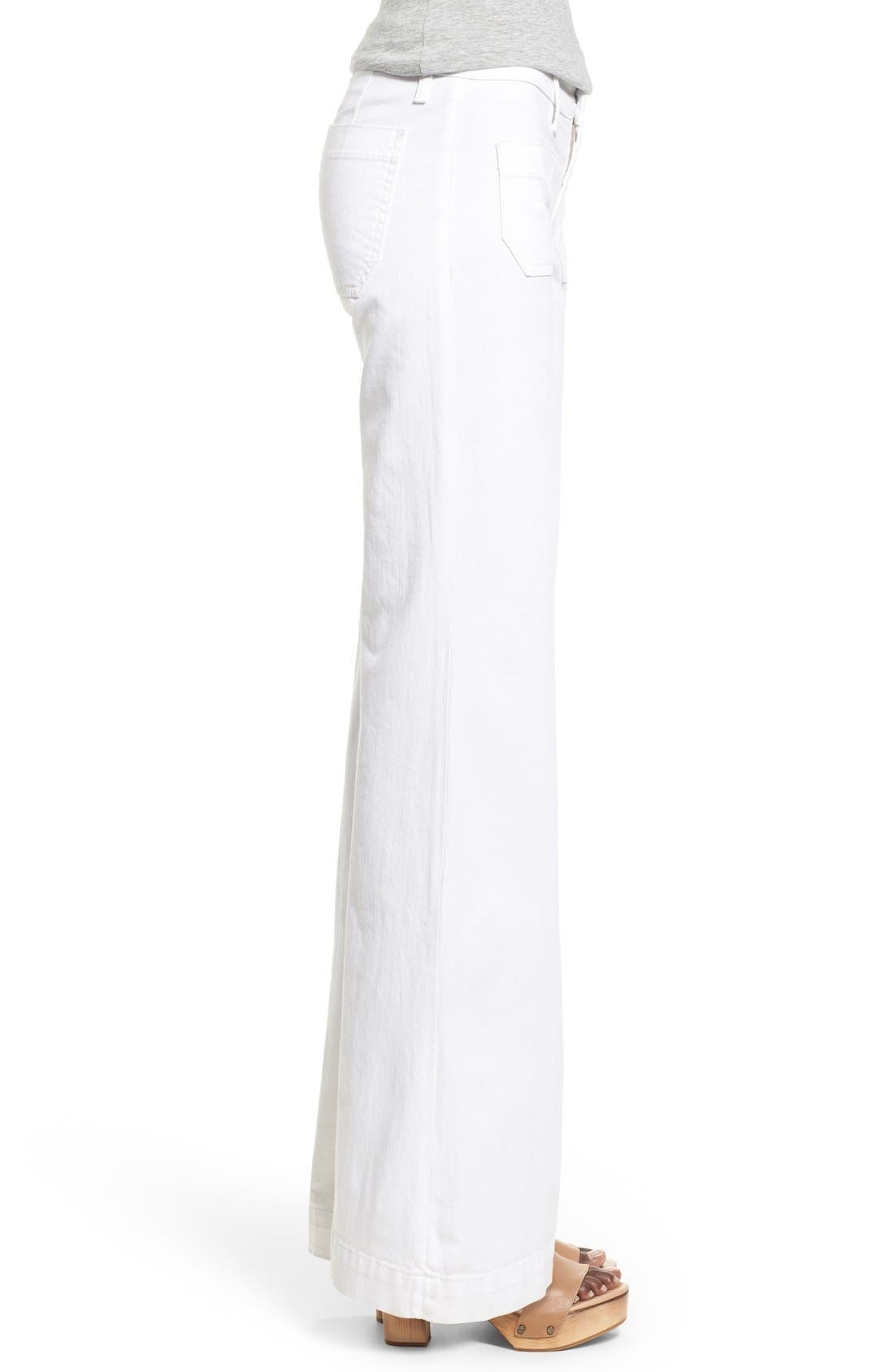 'Libby' Wide Leg Sailor Jeans,                             Alternate thumbnail 3, color,                             White2