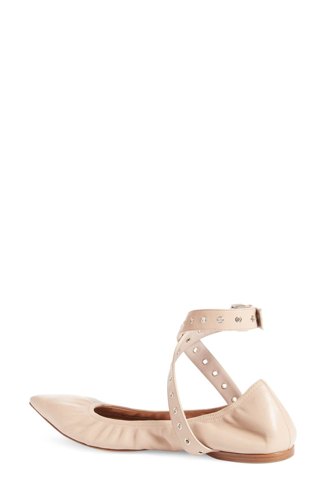 'Love Latch' Pointy Toe Flat,                             Alternate thumbnail 2, color,                             Nude Leather