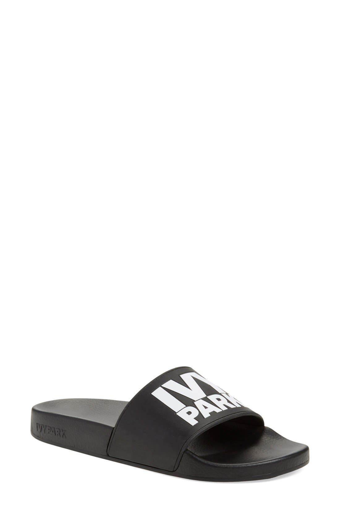 Logo Slide Sandal, Main, color, Black