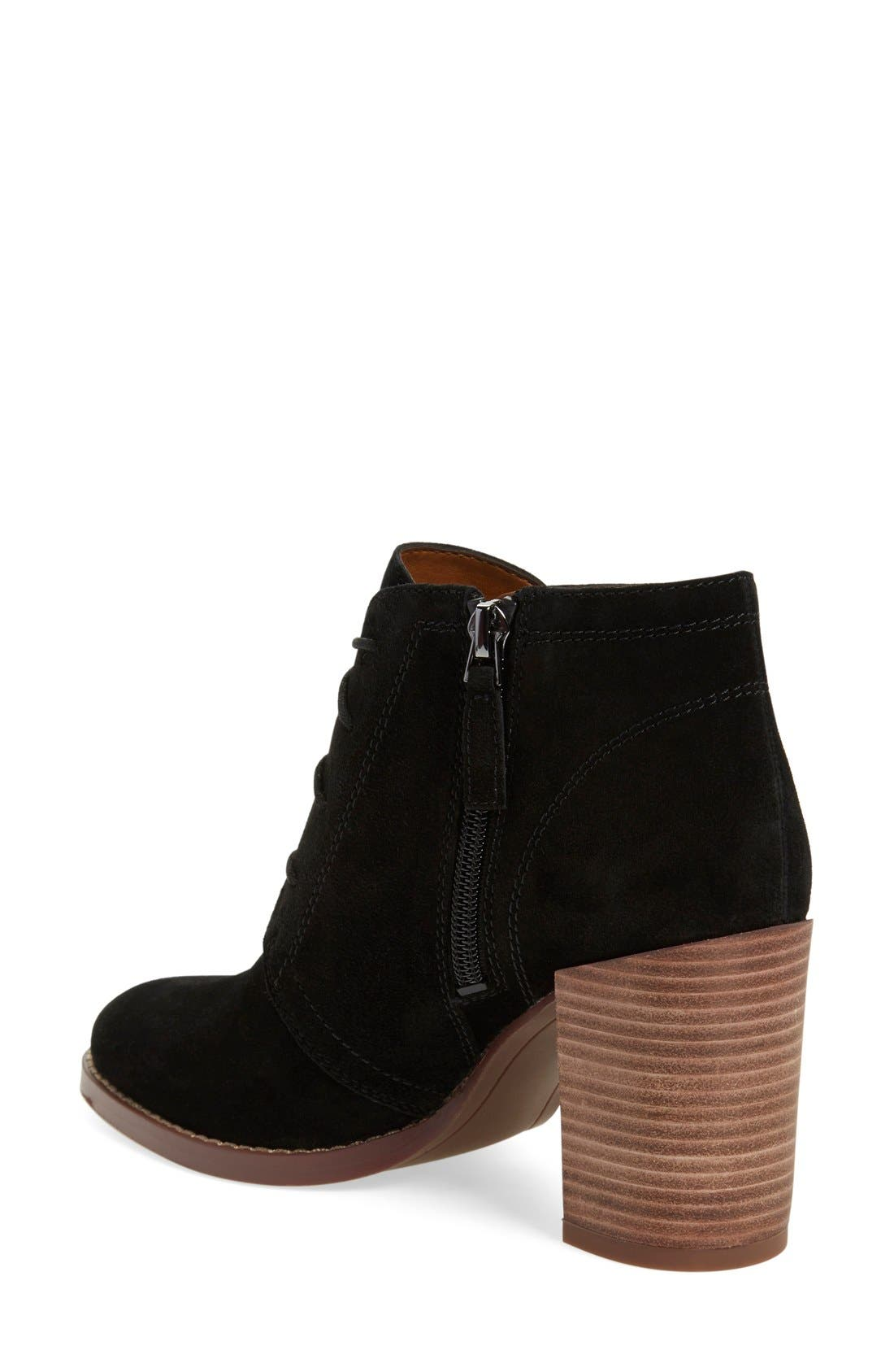 'Omani' Block Heel Bootie,                             Alternate thumbnail 2, color,                             Black Suede