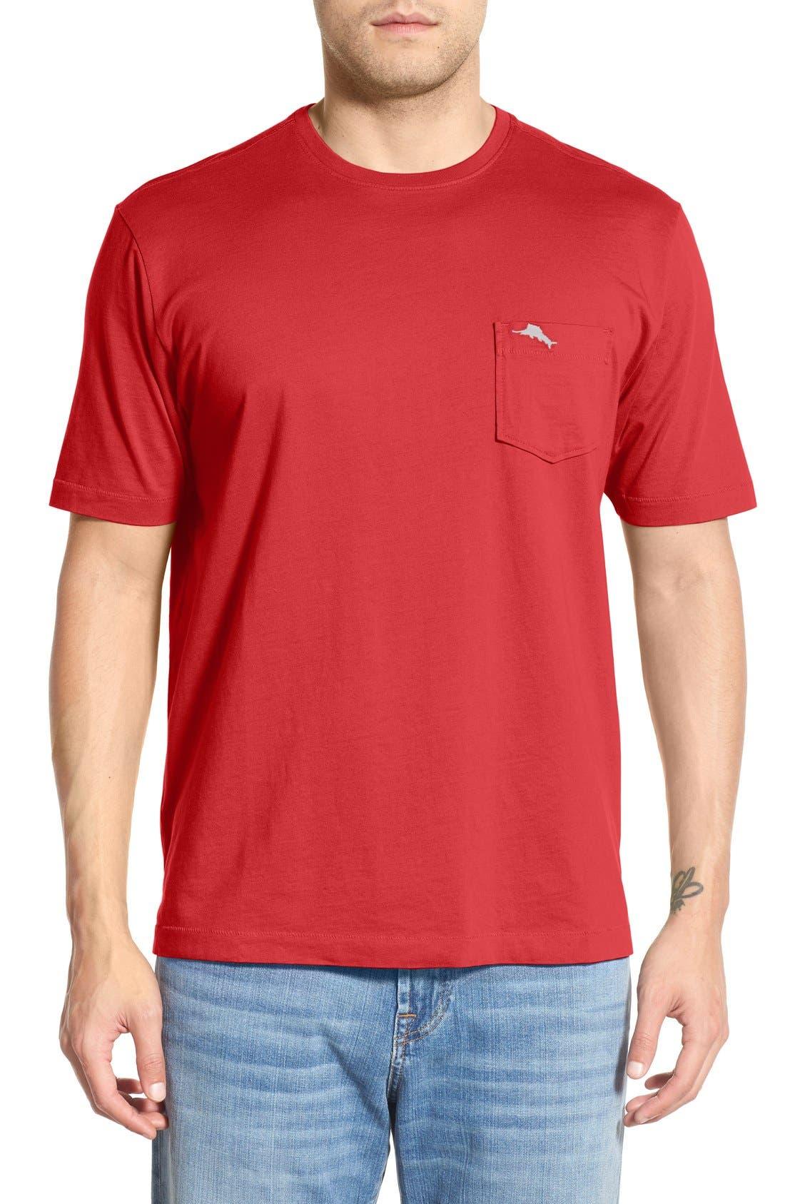 'New Bali Sky' Original Fit Crewneck Pocket T-Shirt,                         Main,                         color, Red Cherry