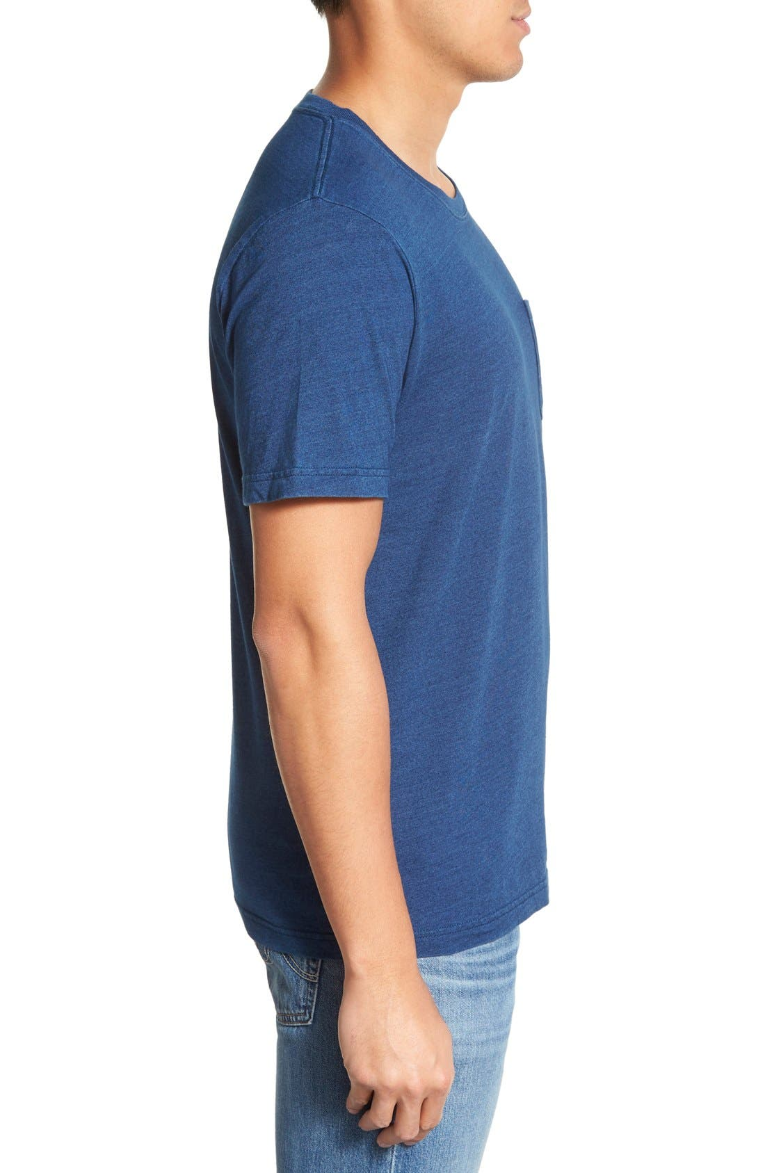 Pocket Crewneck T-Shirt,                             Alternate thumbnail 3, color,                             Dark Indigo
