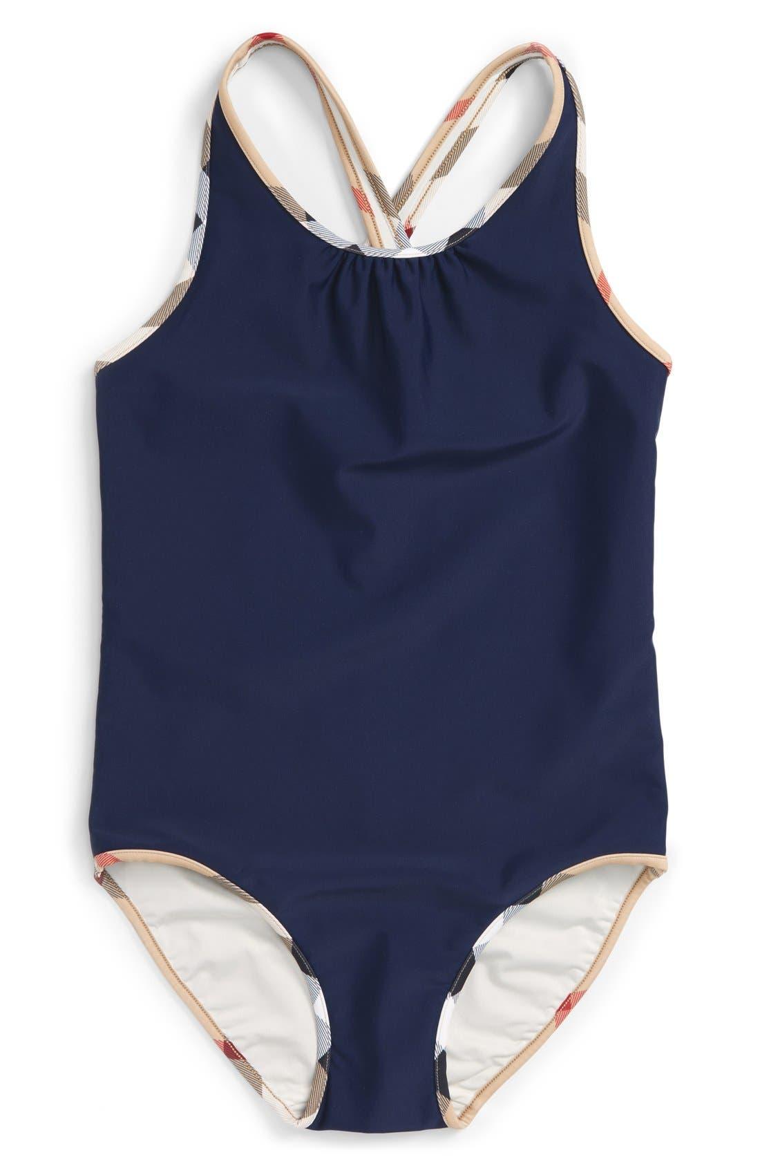Main Image - Burberry 'Beadnell' One-Piece Swimsuit (Little Girls & Big Girls)
