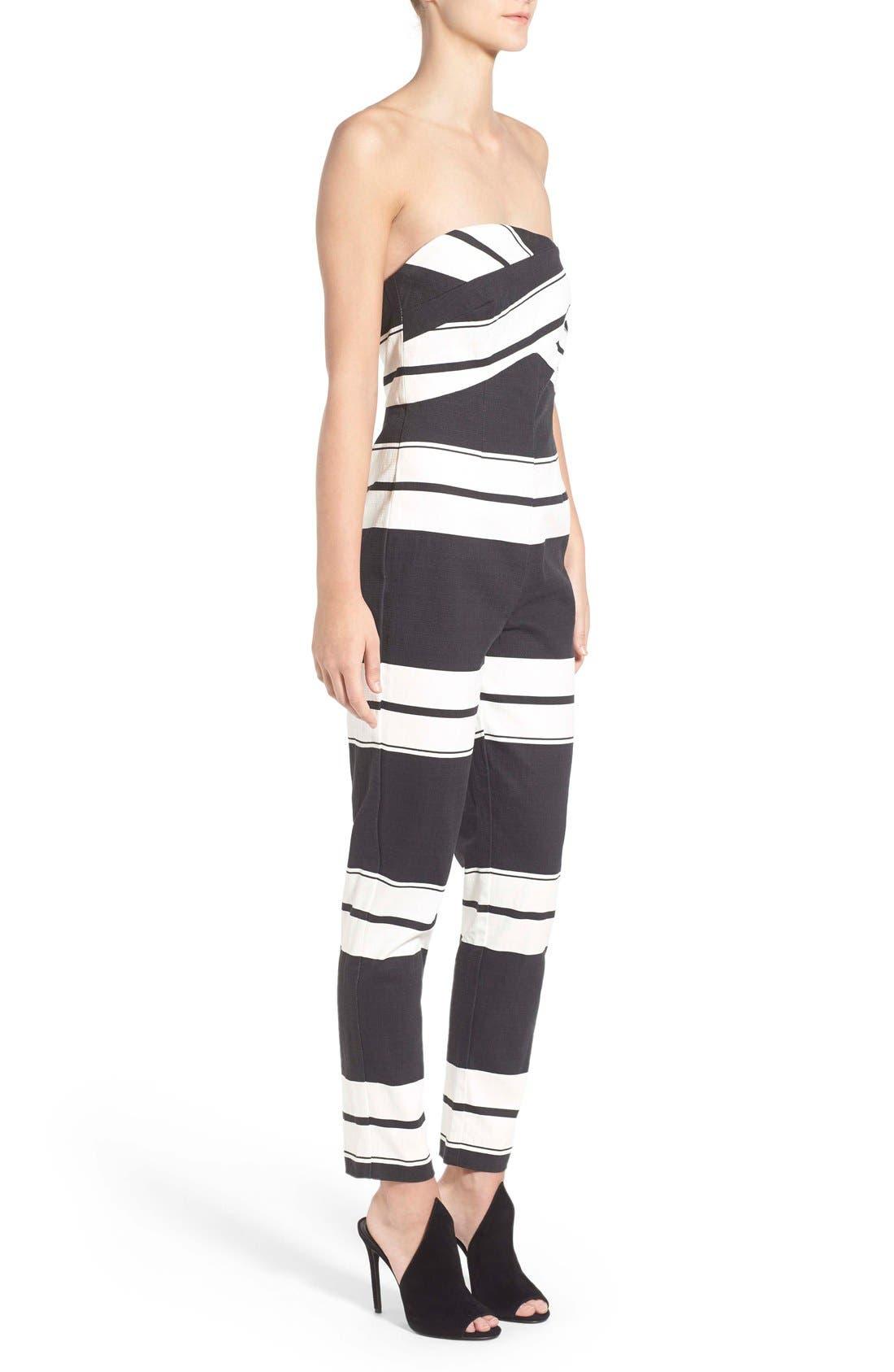 Alternate Image 3  - KENDALL + KYLIE Stripe Strapless Jumpsuit