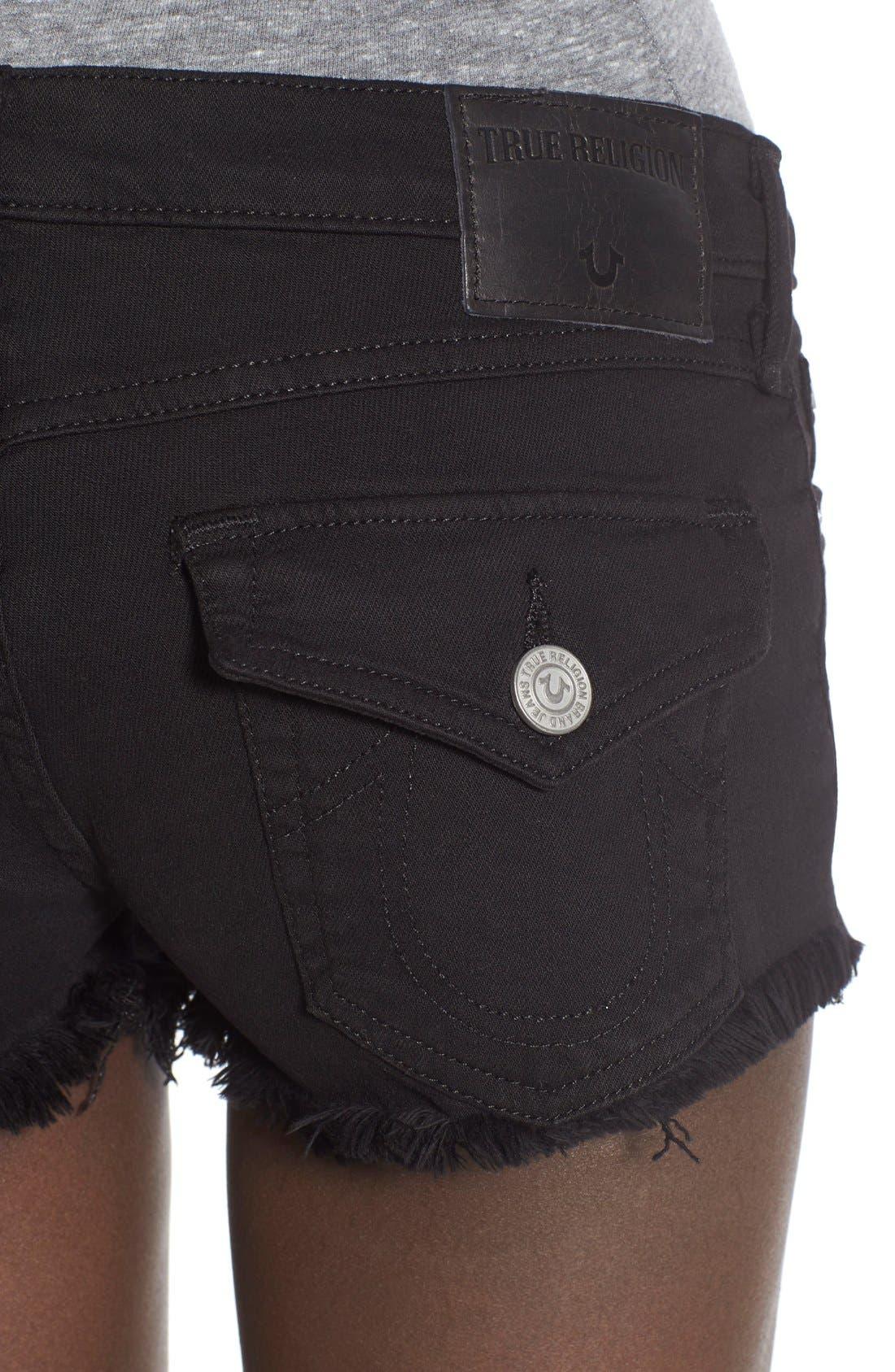 Alternate Image 4  - True Religion Brand Jeans Joey Flap Pocket Cutoff Denim Shorts (Jet Black)