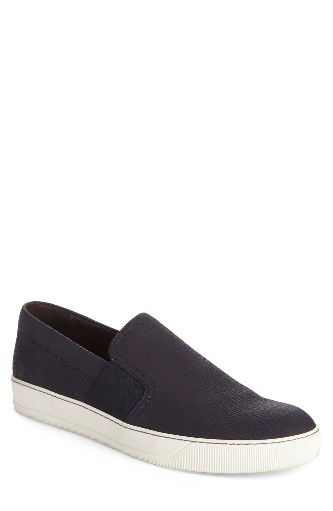 Matte Slip-On,                         Main,                         color, Navy Leather