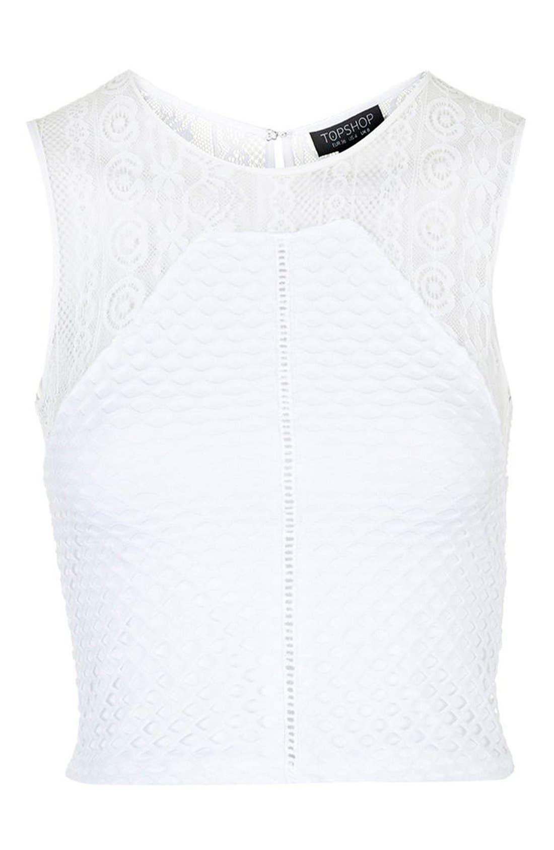 Alternate Image 4  - Topshop Mesh & Lace Cutout Shell Top