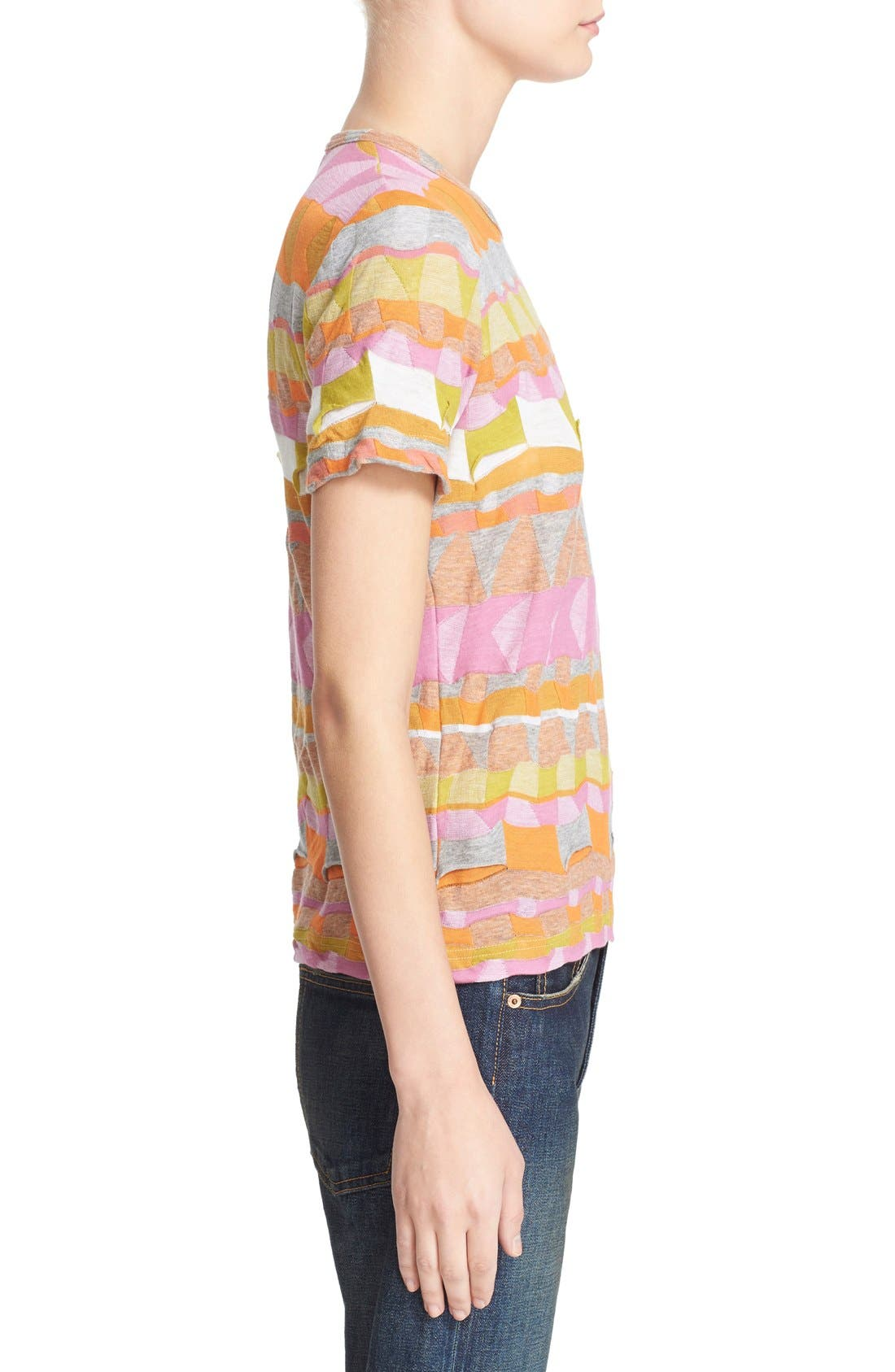 Multi Border Jacquard Top,                             Alternate thumbnail 5, color,                             Pink/ Orange