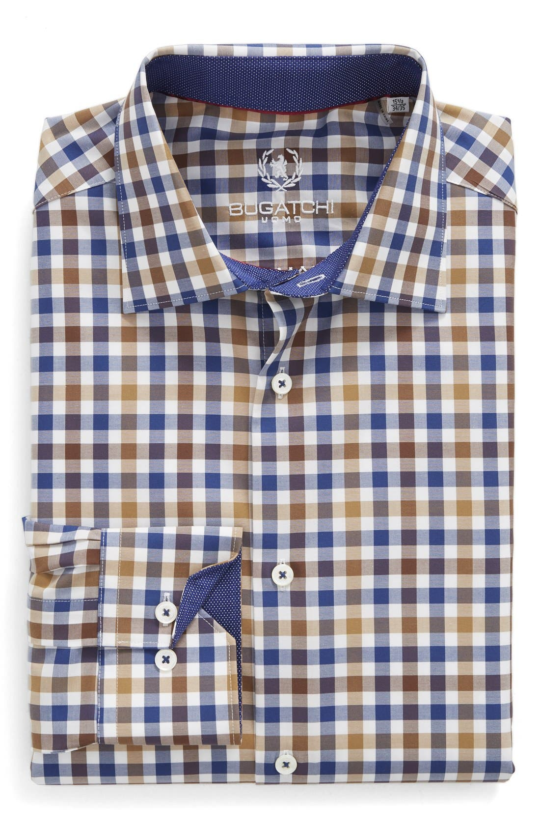 Alternate Image 1 Selected - Bugatchi Trim Fit Check Dress Shirt