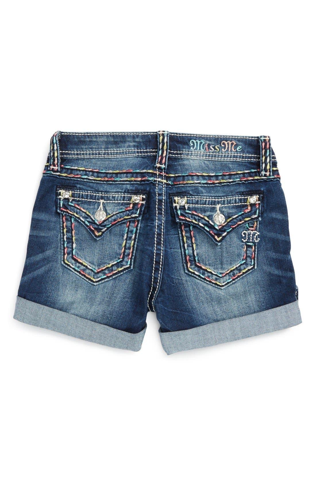 Alternate Image 2  - Miss Me Rainbow Stitch Embellished Cuff Shorts (Big Girls)