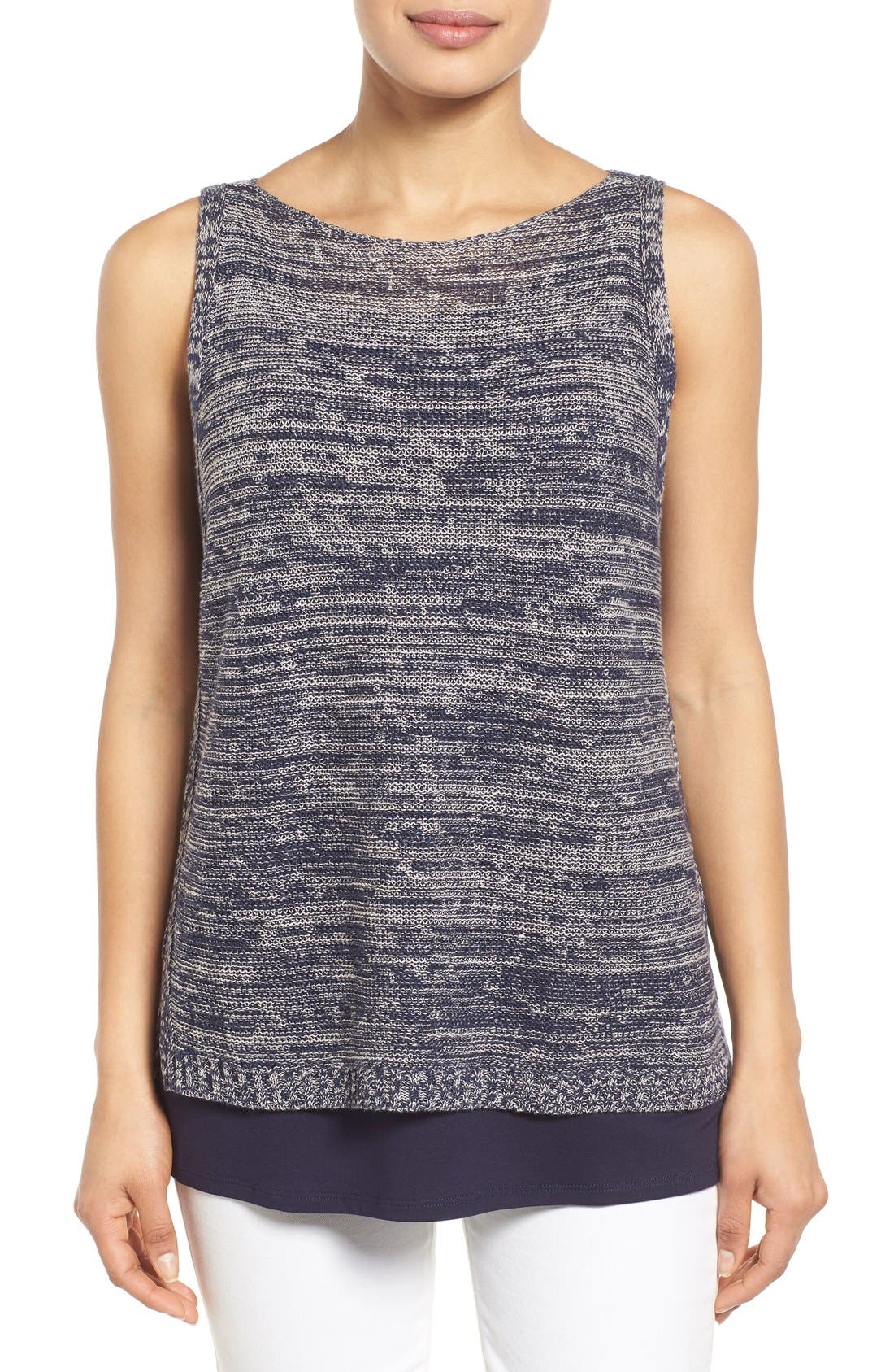 Main Image - Eileen Fisher Organic Linen Knit Bateau Neck High/Low Shell
