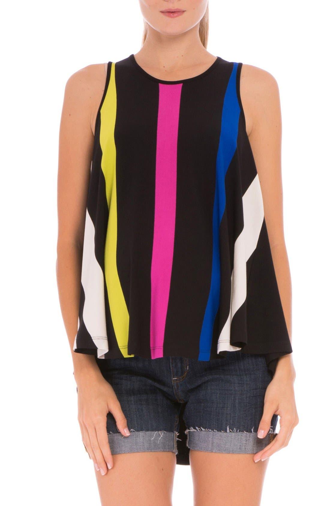 'Mandy' Stripe Maternity High/Low Tank,                         Main,                         color, Black
