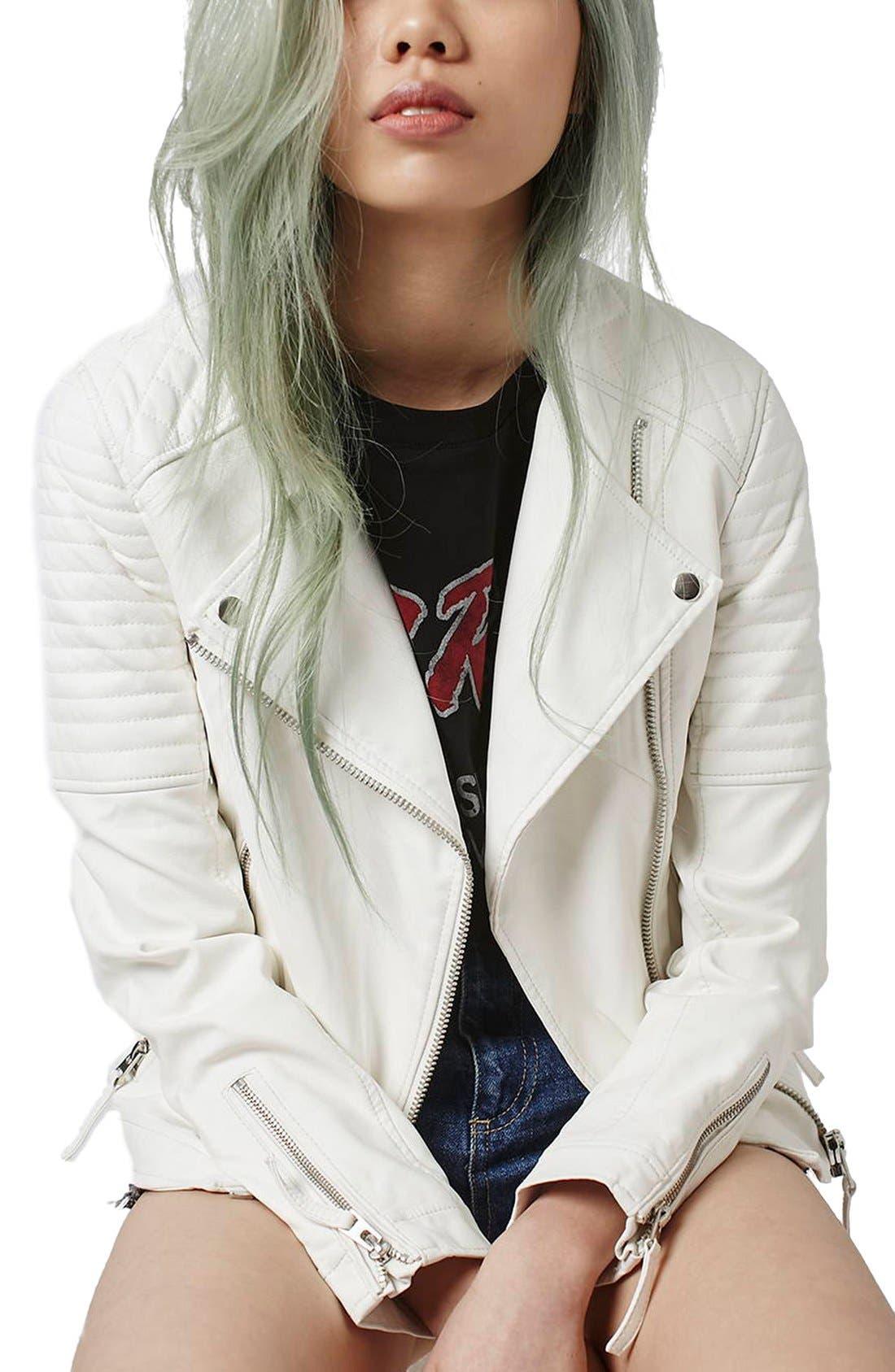 Faux Leather Biker Jacket,                         Main,                         color, White