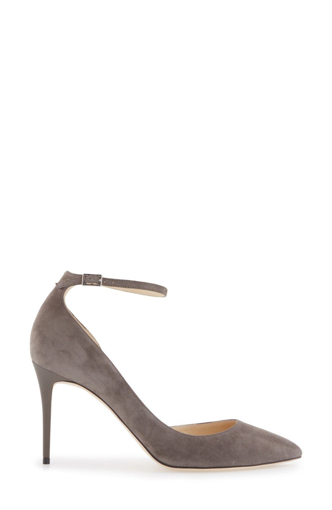 'Lucy' Half d'Orsay Pointy Toe Pump,                             Alternate thumbnail 4, color,                             Taupe Grey Suede