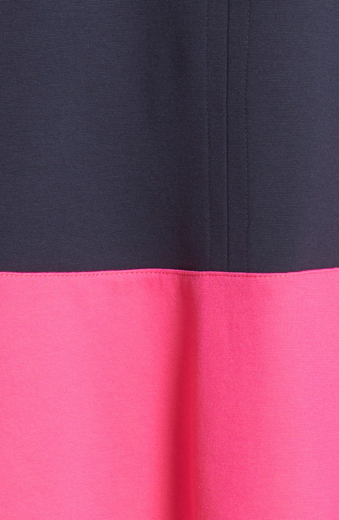 Colorblock Hem Fit & Flare,                             Alternate thumbnail 6, color,                             Navy/ Pink