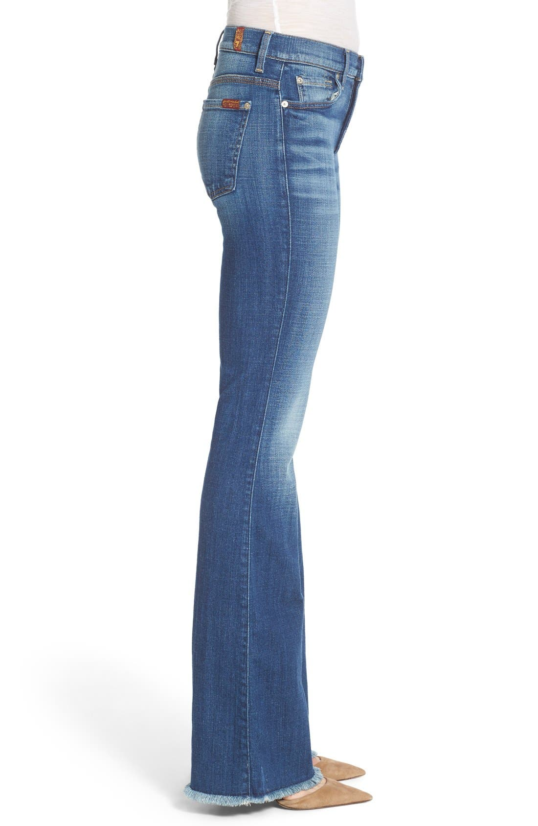 Alternate Image 3  - 7 For All Mankind® 'Ginger' High Rise Raw Hem Flare Jeans (Athens Broken Twill)
