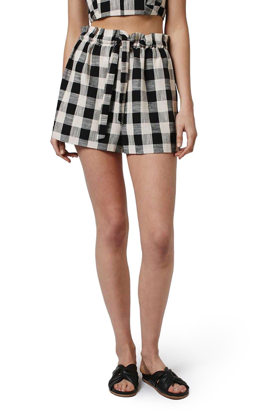 Alternate Image 1 Selected - Topshop Gingham Paperbag Shorts