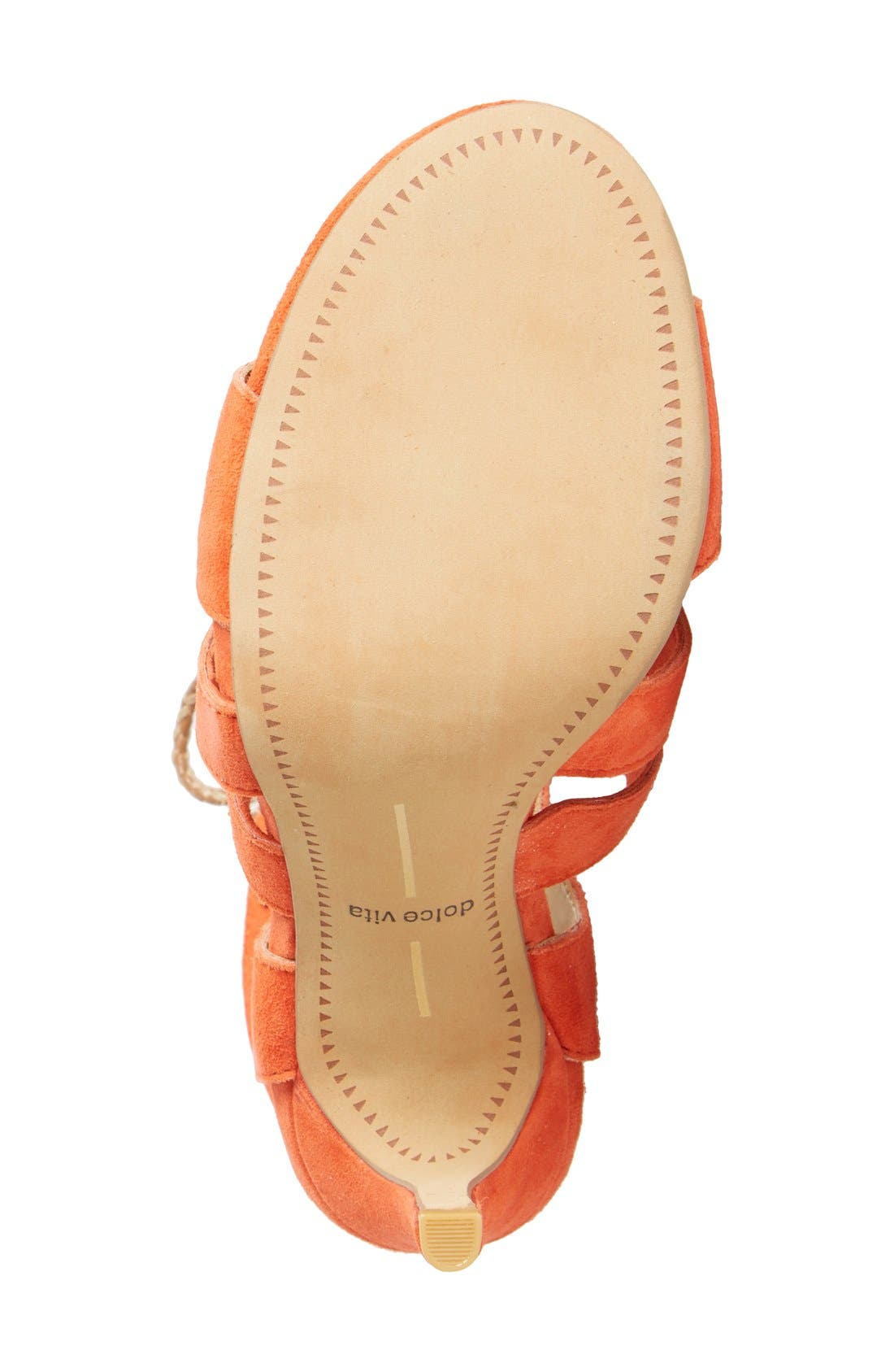 'Howie' Lace-Up Sandal,                             Alternate thumbnail 4, color,                             Red Orange Suede