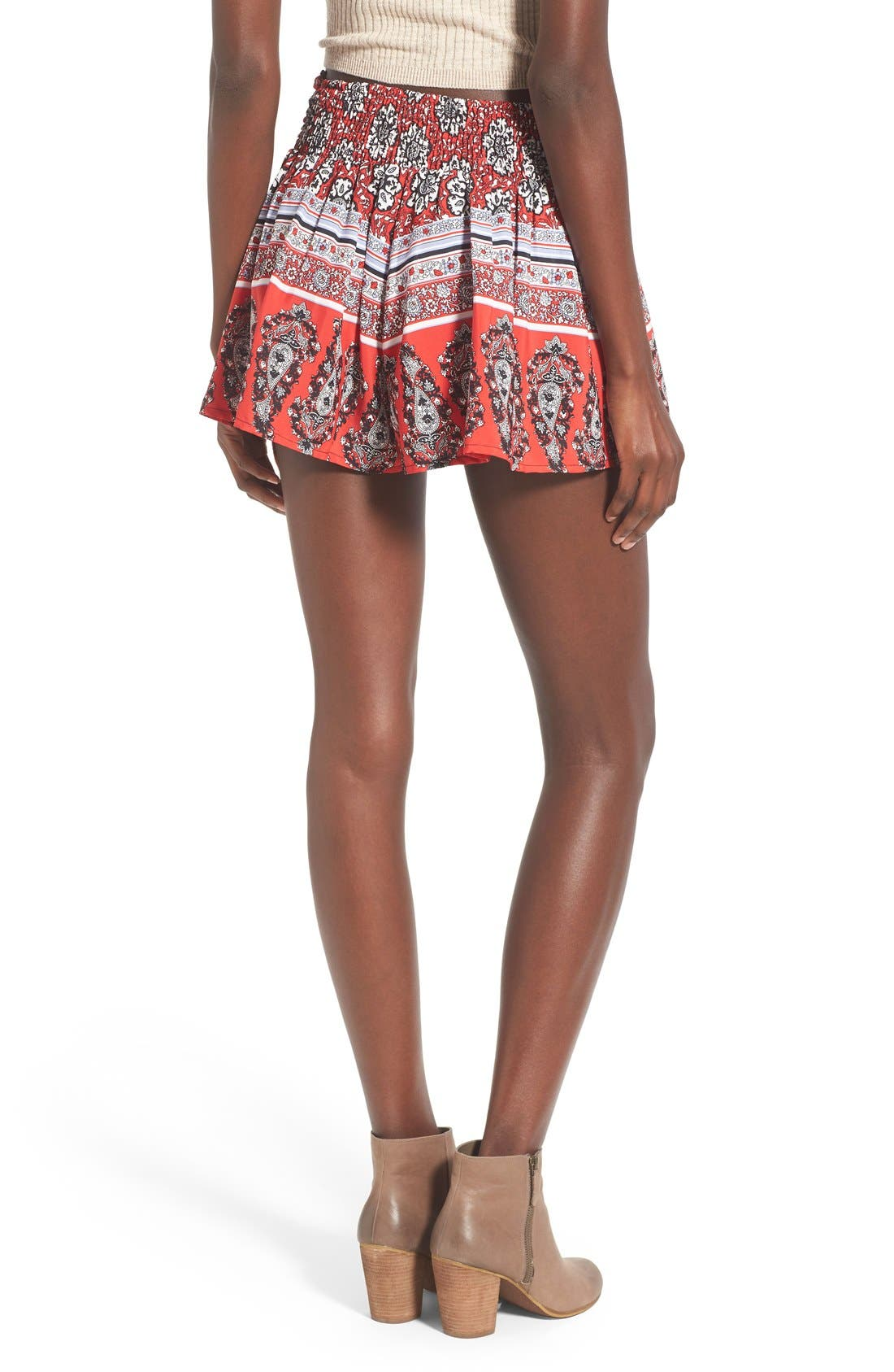 Border Print Tie Front Shorts,                             Alternate thumbnail 2, color,                             Red/ White