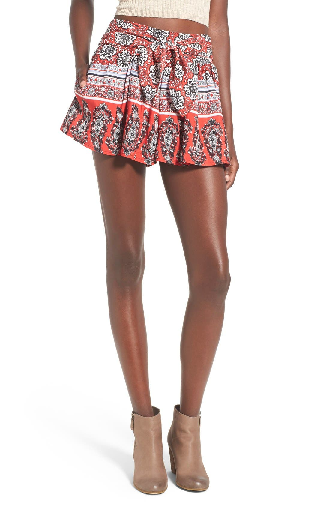 Border Print Tie Front Shorts,                         Main,                         color, Red/ White