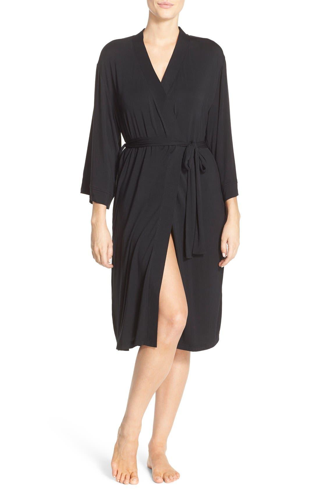 'Moonlight' Jersey Robe,                         Main,                         color, Black