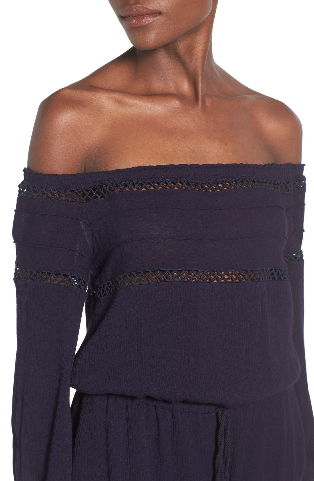 Alternate Image 4  - Sun & Shadow Lace Trim Off the Shoulder Romper