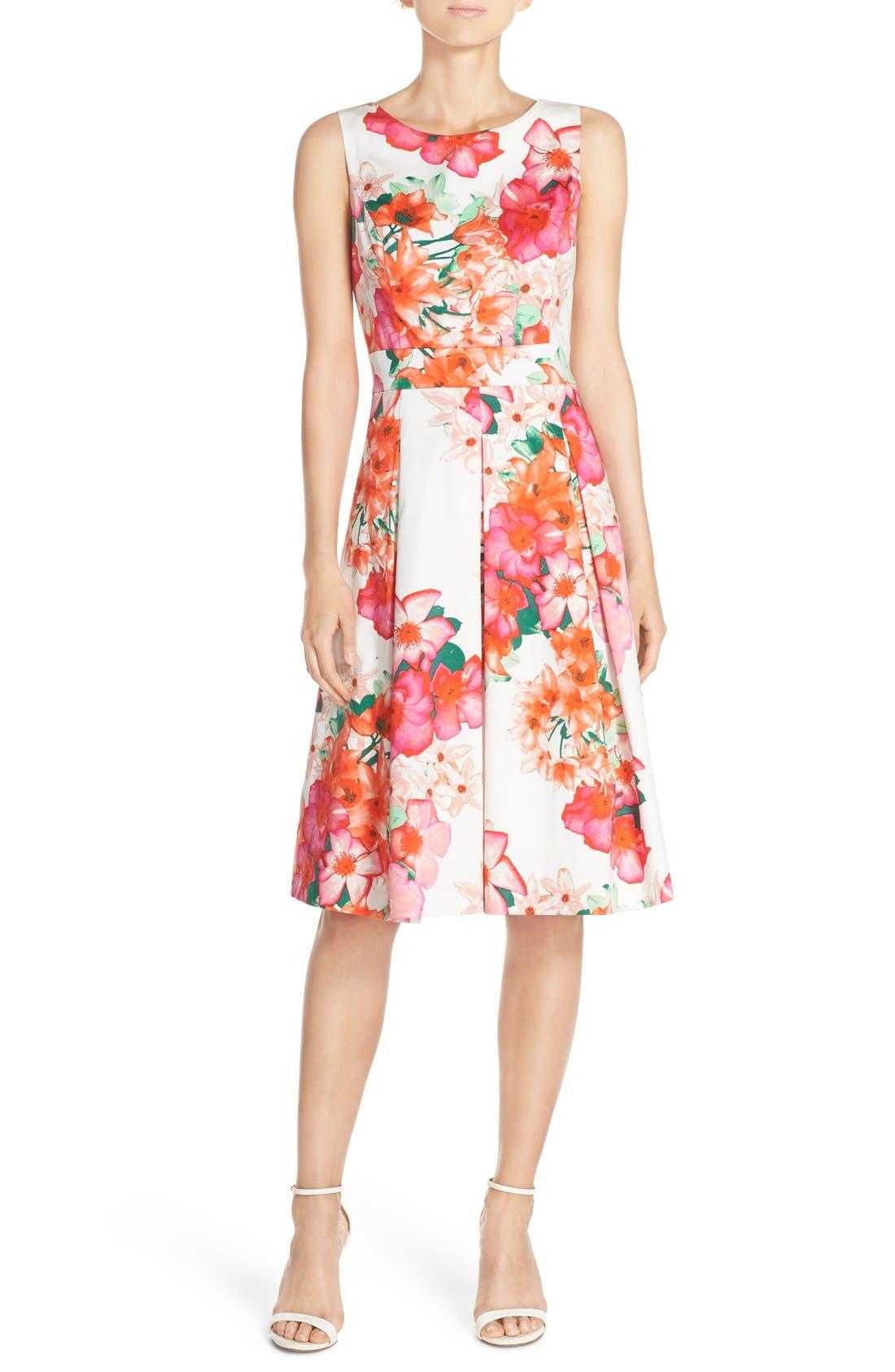 Floral Print Fit & Flare Dress,                         Main,                         color, Pink/ Orange/ Green