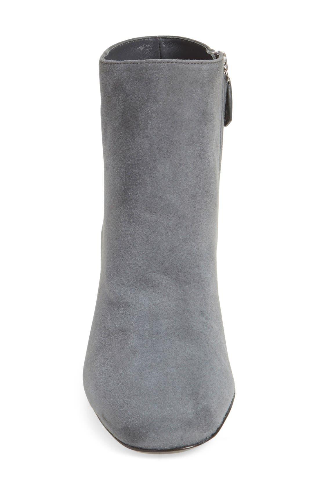 Block Heel Boot,                             Alternate thumbnail 3, color,                             Grey Suede