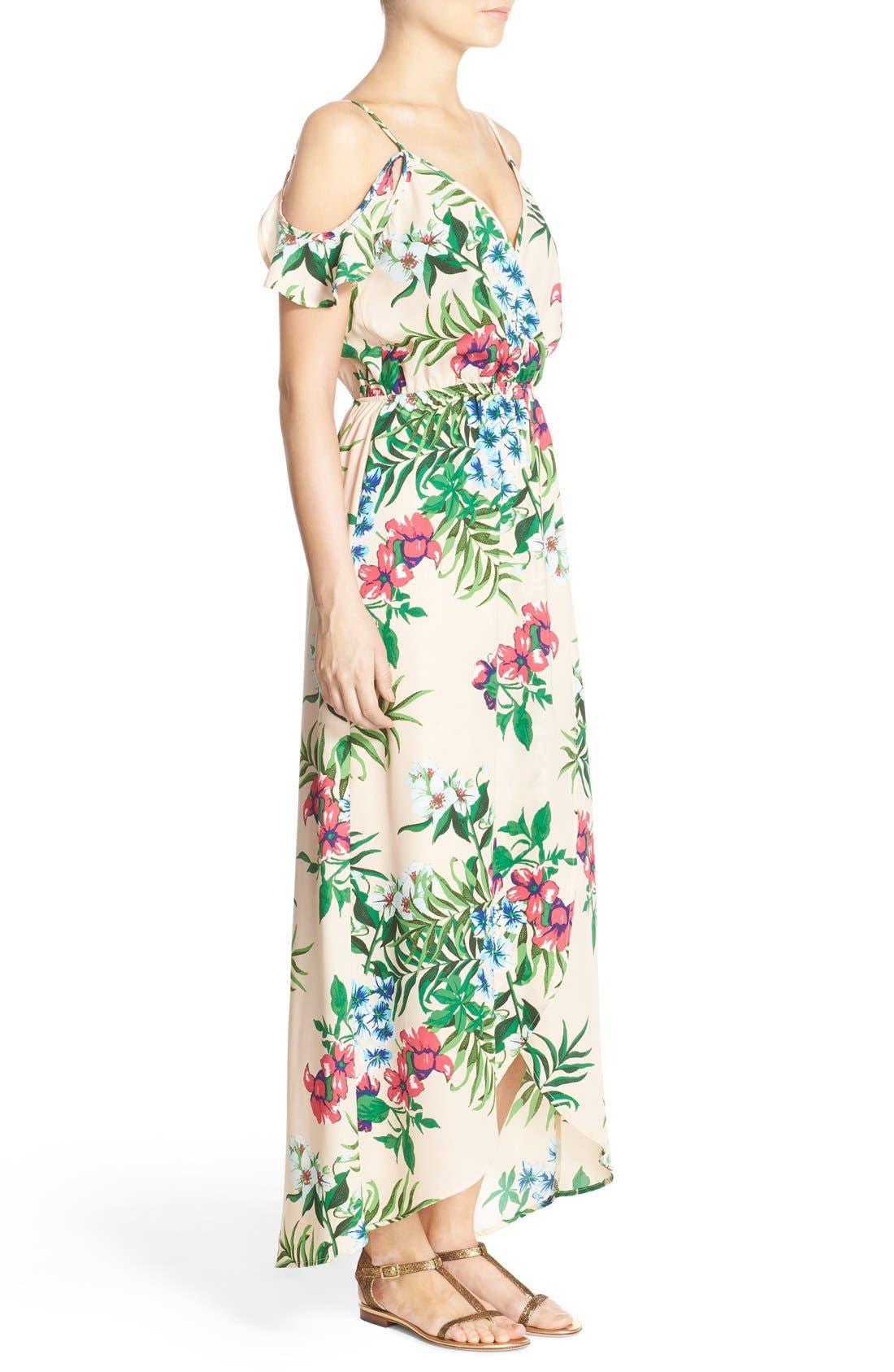 Cold Shoulder High/Low Maxi Dress,                             Alternate thumbnail 3, color,                             Peach