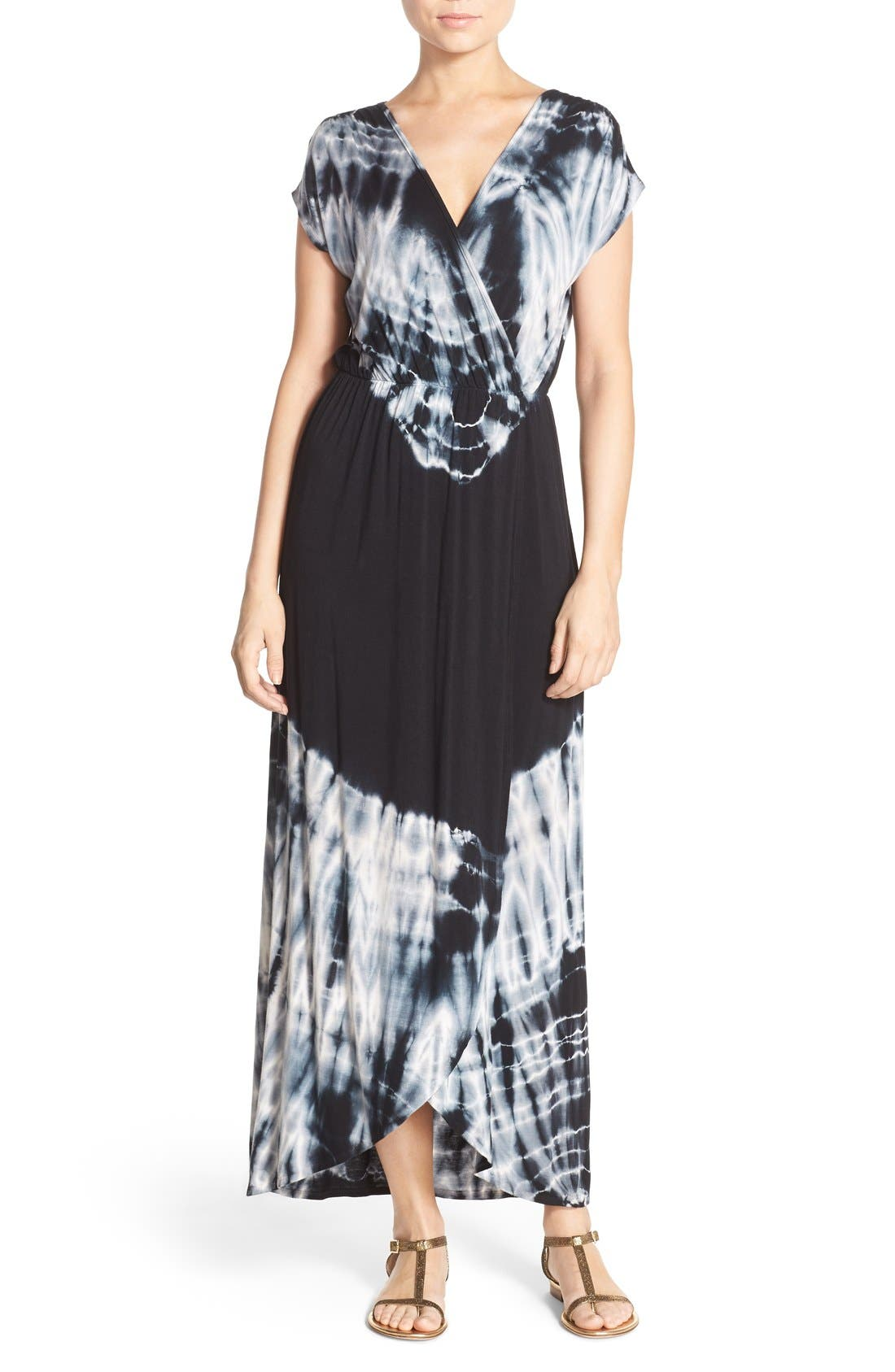 Tie Dye Faux Wrap Maxi Dress,                             Main thumbnail 1, color,                             Black
