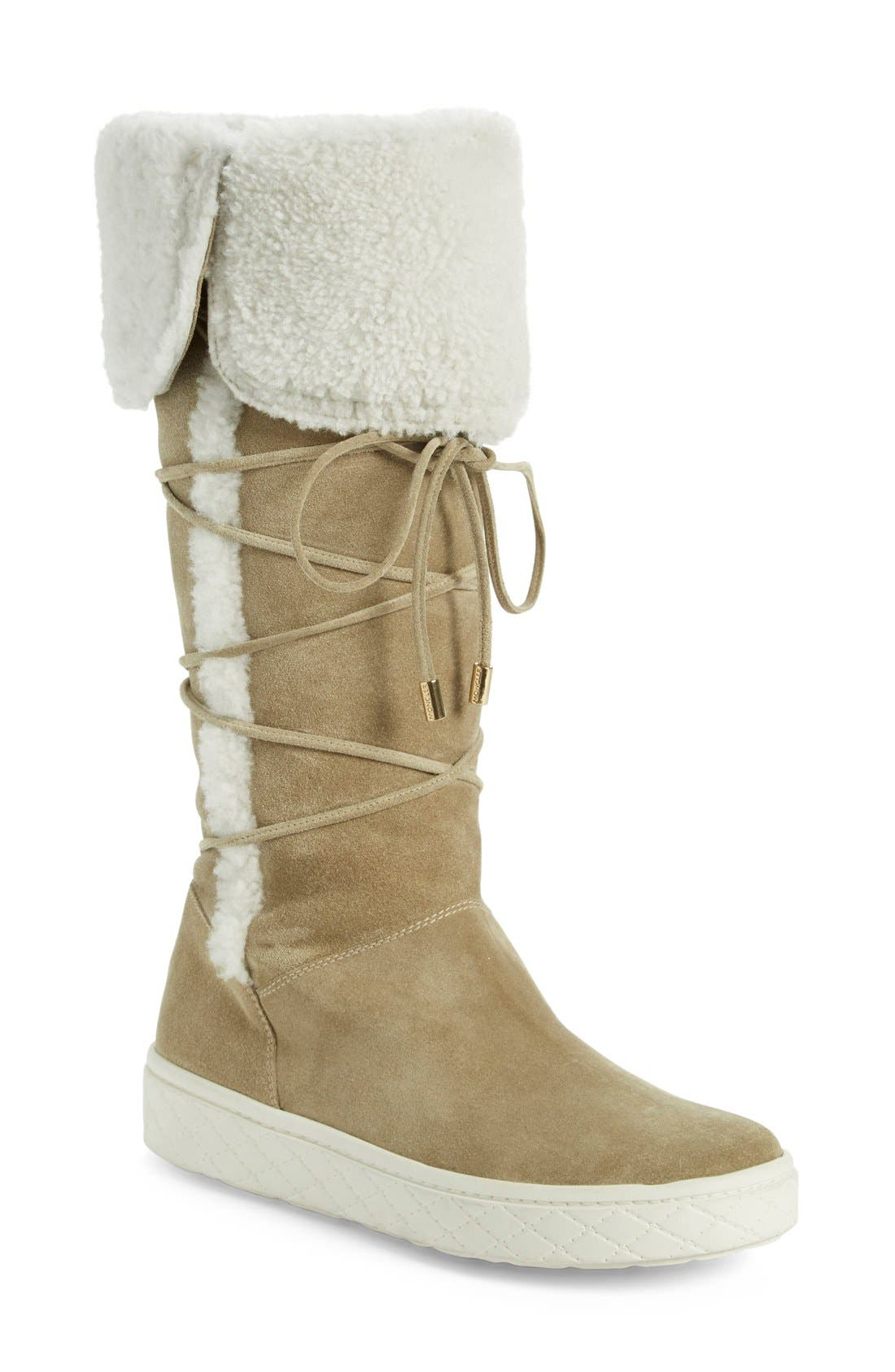 2018 Discount Madeleine Stivale' Genuine Shearling Tall Boot Women Womens Tan Suede Moncler Womens Designer Shoes