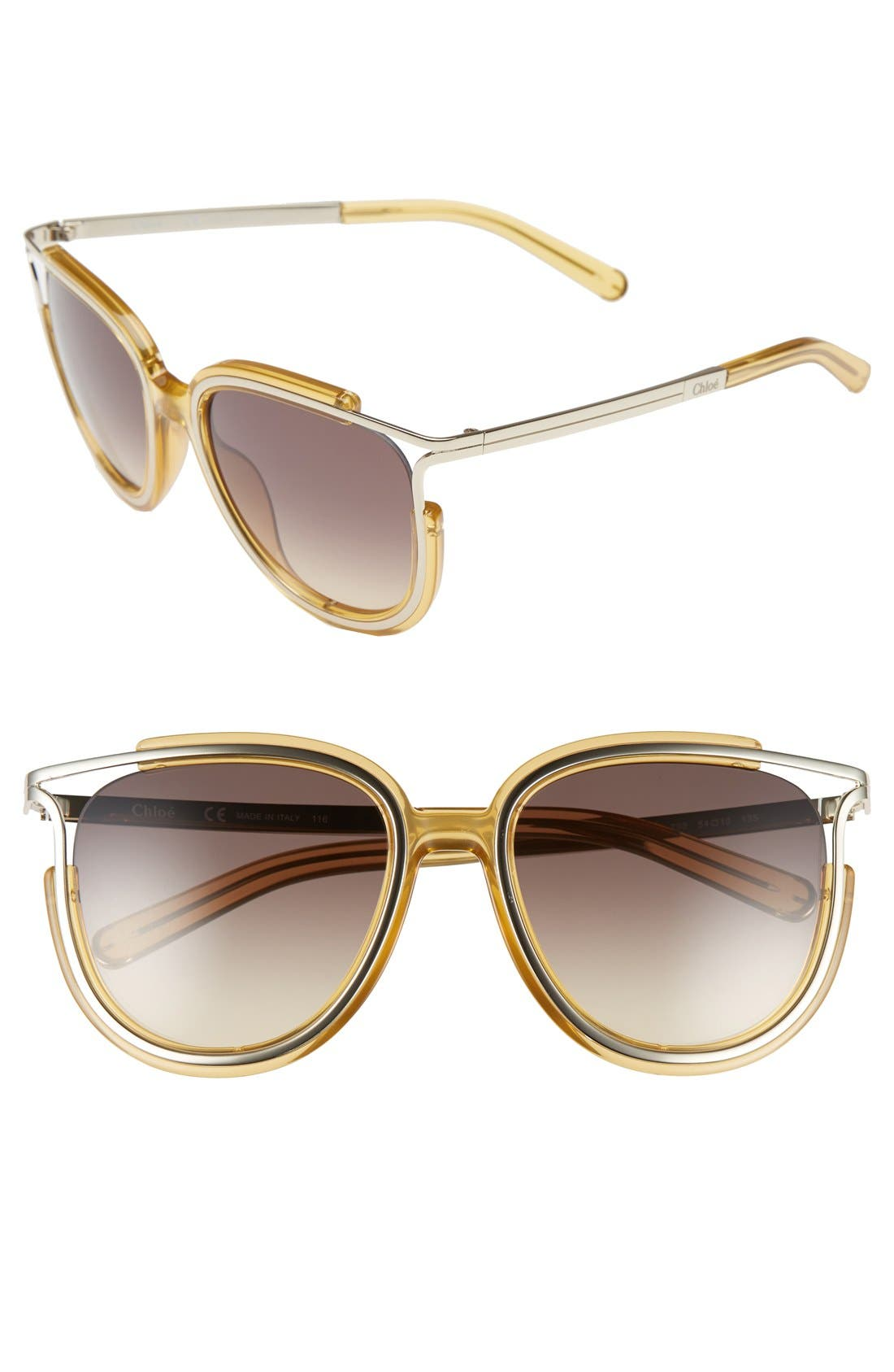 'Jayme' 54mm Retro Sunglasses,                         Main,                         color, Yellow