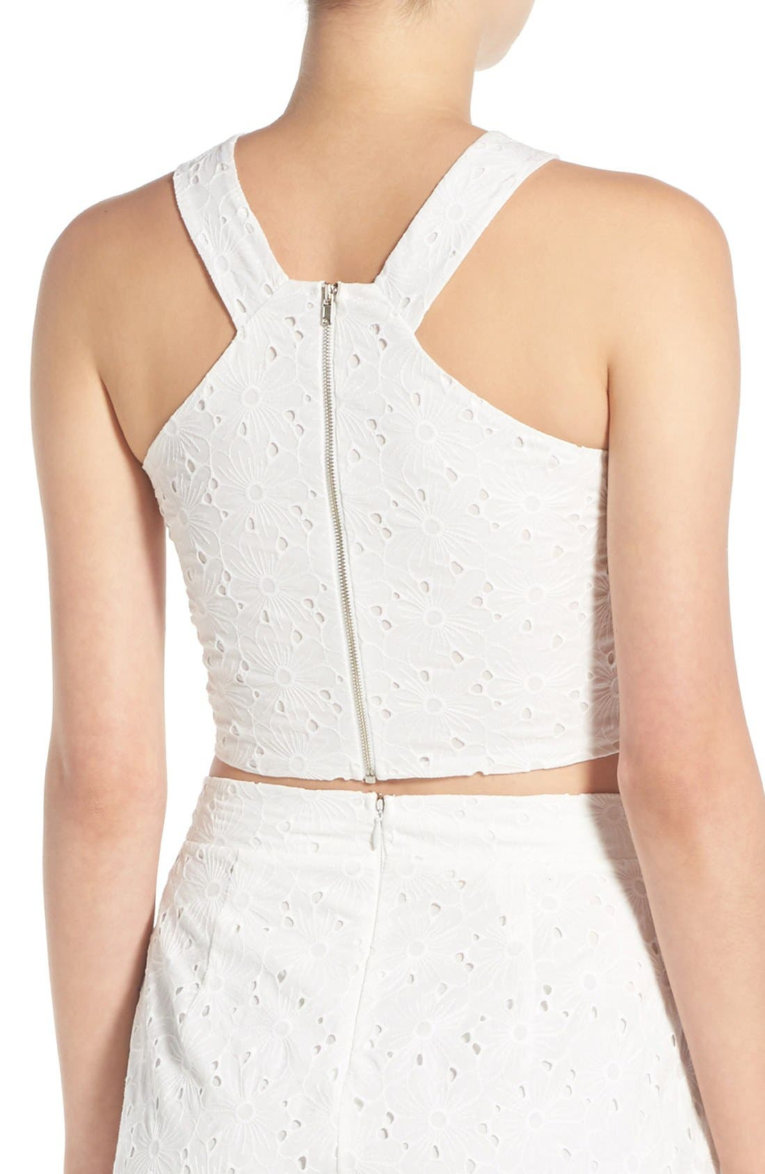 Crop Eyelet Tank,                             Alternate thumbnail 2, color,                             White